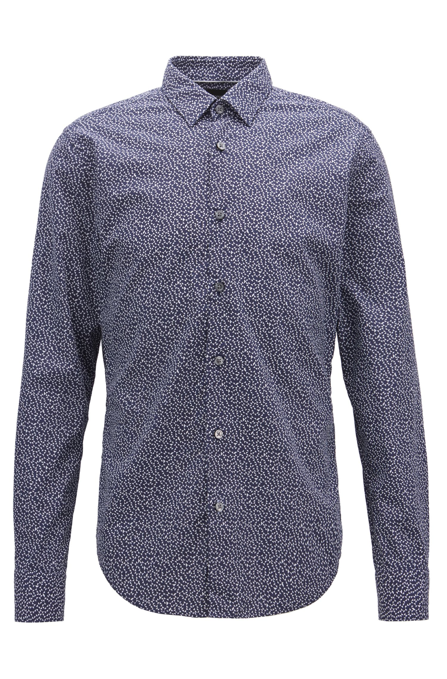 Slim-fit shirt in cotton with Anni Albers-inspired pattern, Blue