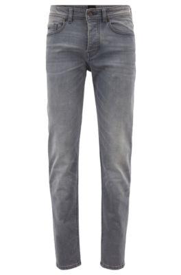 Tapered-Fit Jeans aus gestricktem Stretch-Denim, Grau