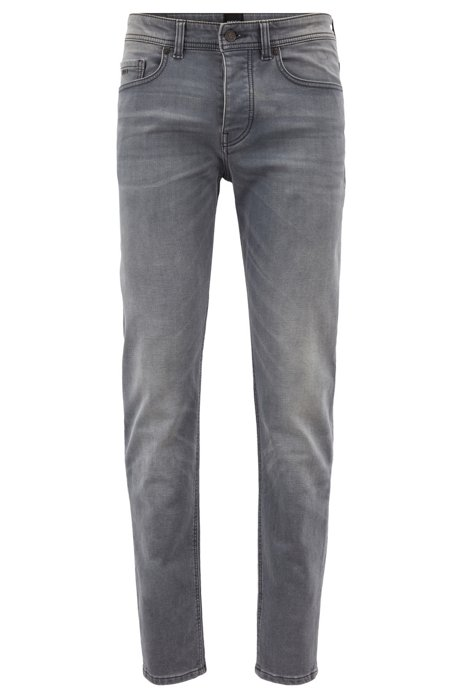 Tapered-fit jeans in grey knitted stretch denim, Grey