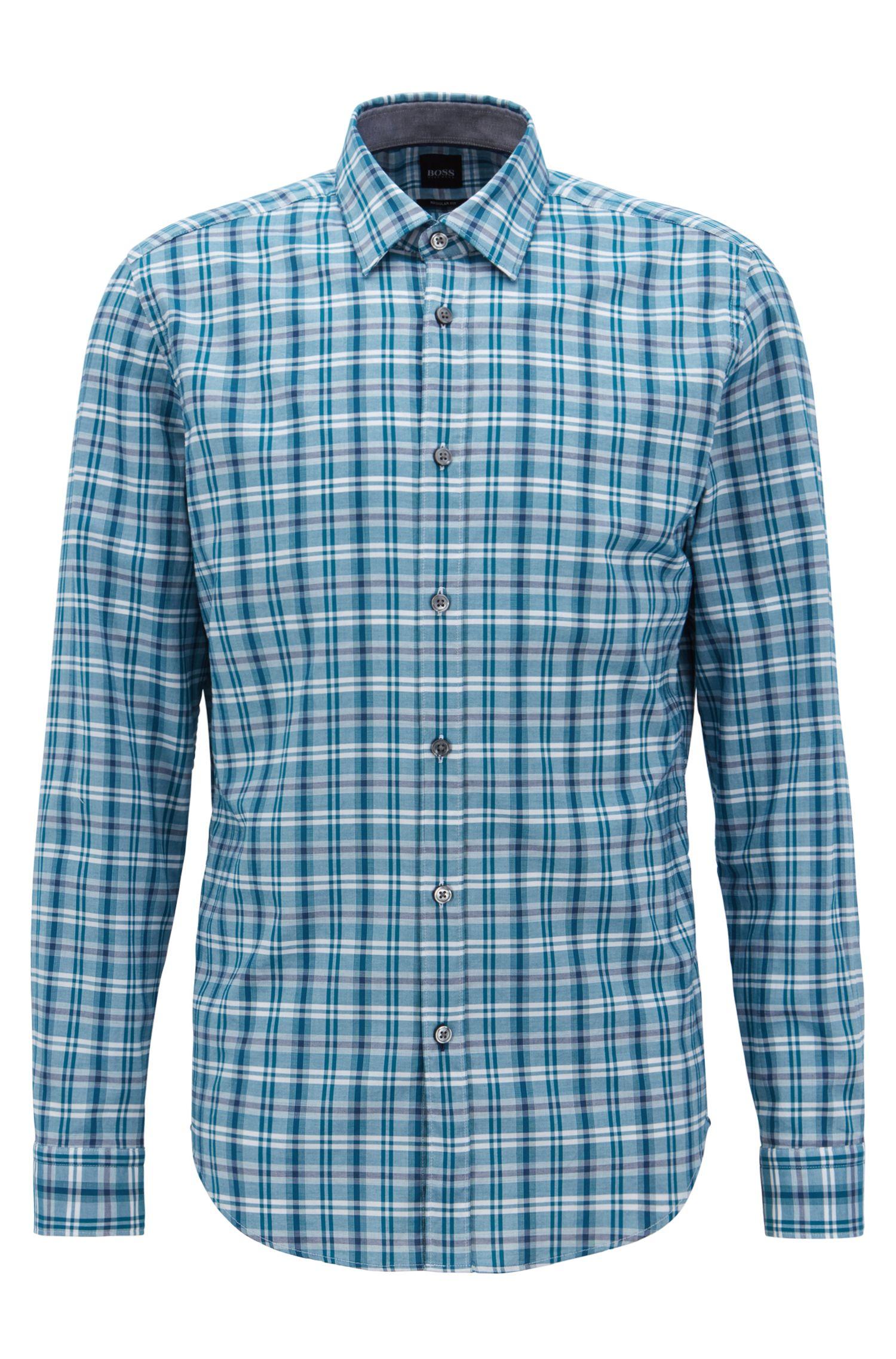Regular-fit overhemd van kleurige, geruite katoen, Turkoois