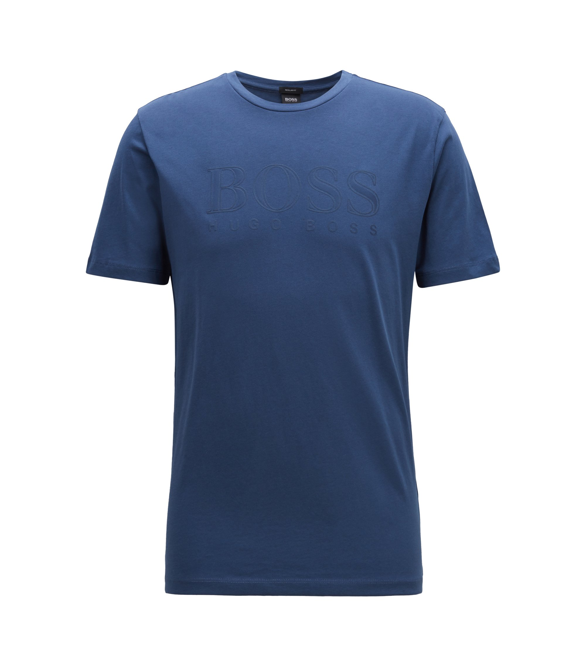Regular-fit T-shirt in cotton with three-dimensional logo, Blue