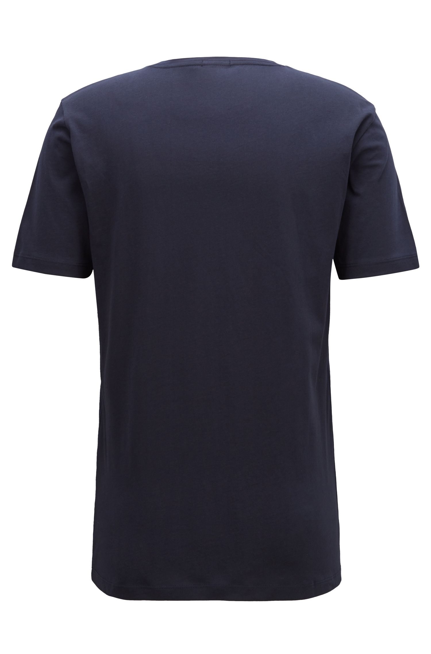 Camiseta regular fit en algodón con logo tridimensional, Azul oscuro