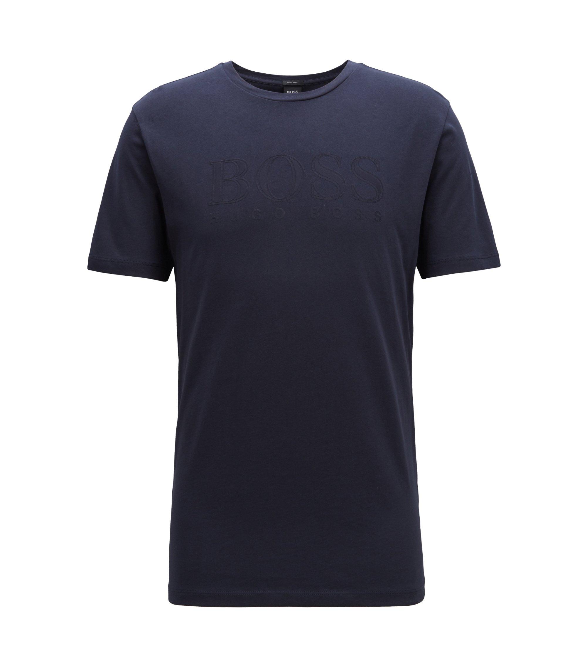 T-shirt regular fit in cotone con logo tridimensionale, Blu scuro