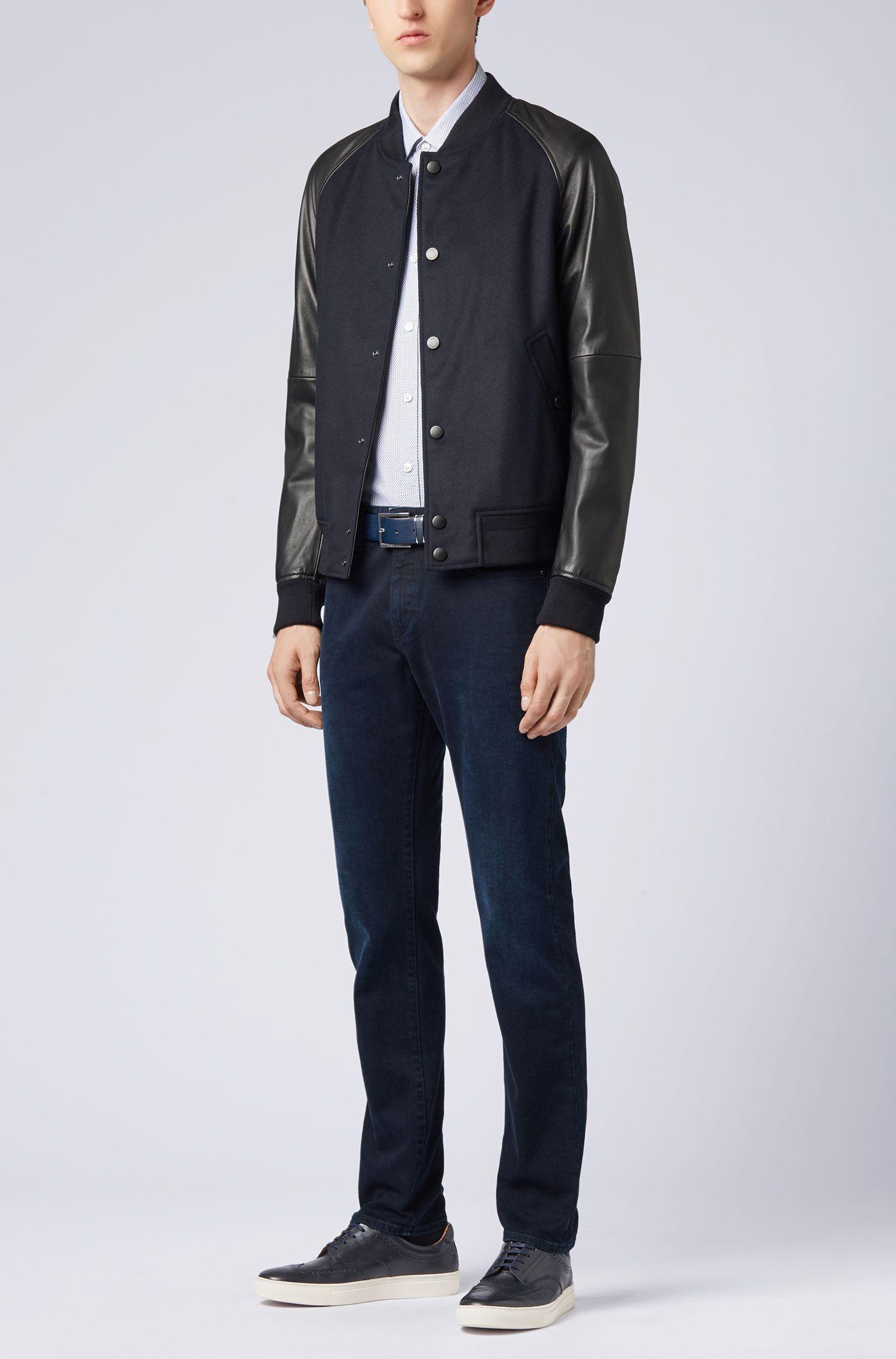 Bedrucktes Slim-Fit Hemd aus italienischer Oxford-Baumwolle, Dunkelblau