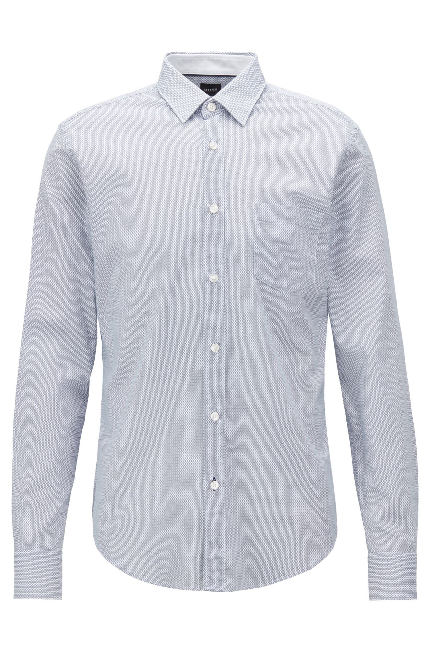 Slim-fit shirt in printed Italian Oxford cotton, Dark Blue