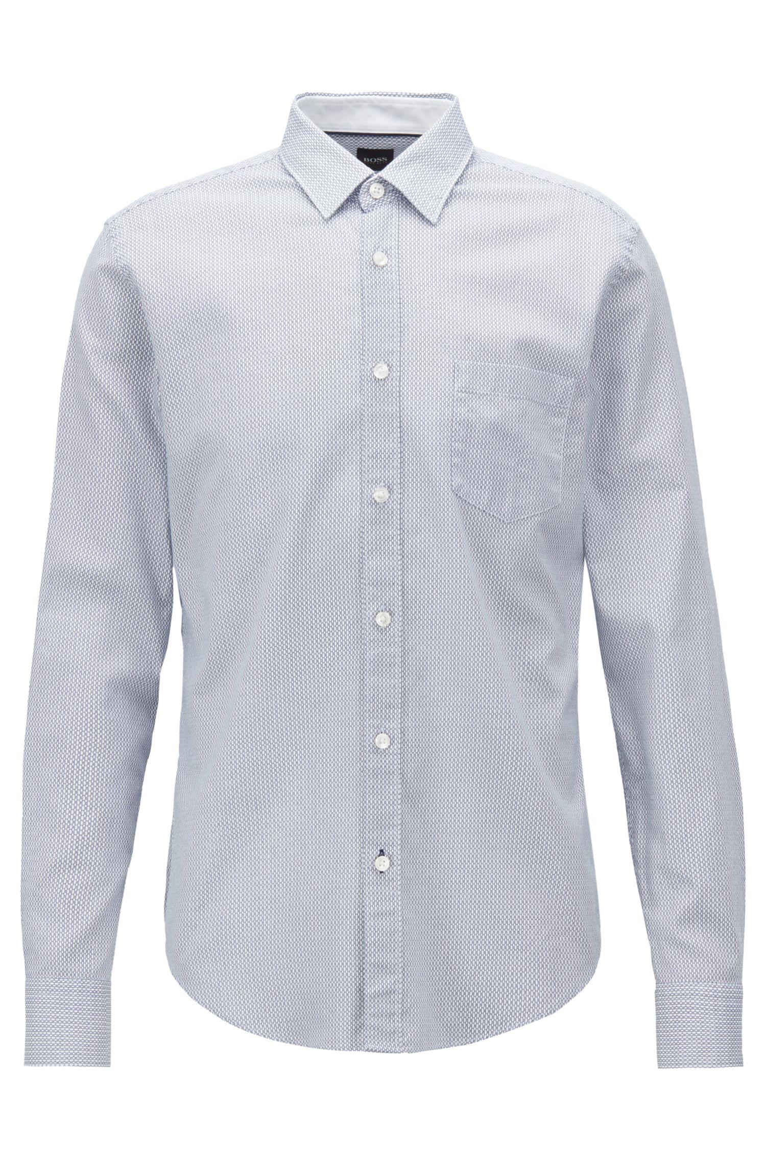 Camisa slim fit en algodón Oxford estampado de Italia, Azul oscuro