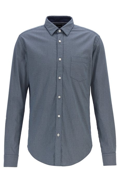 Slim-fit shirt in printed Italian Oxford cotton, Patterned