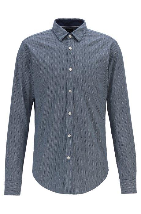 Bedrucktes Slim-Fit Hemd aus italienischer Oxford-Baumwolle, Gemustert