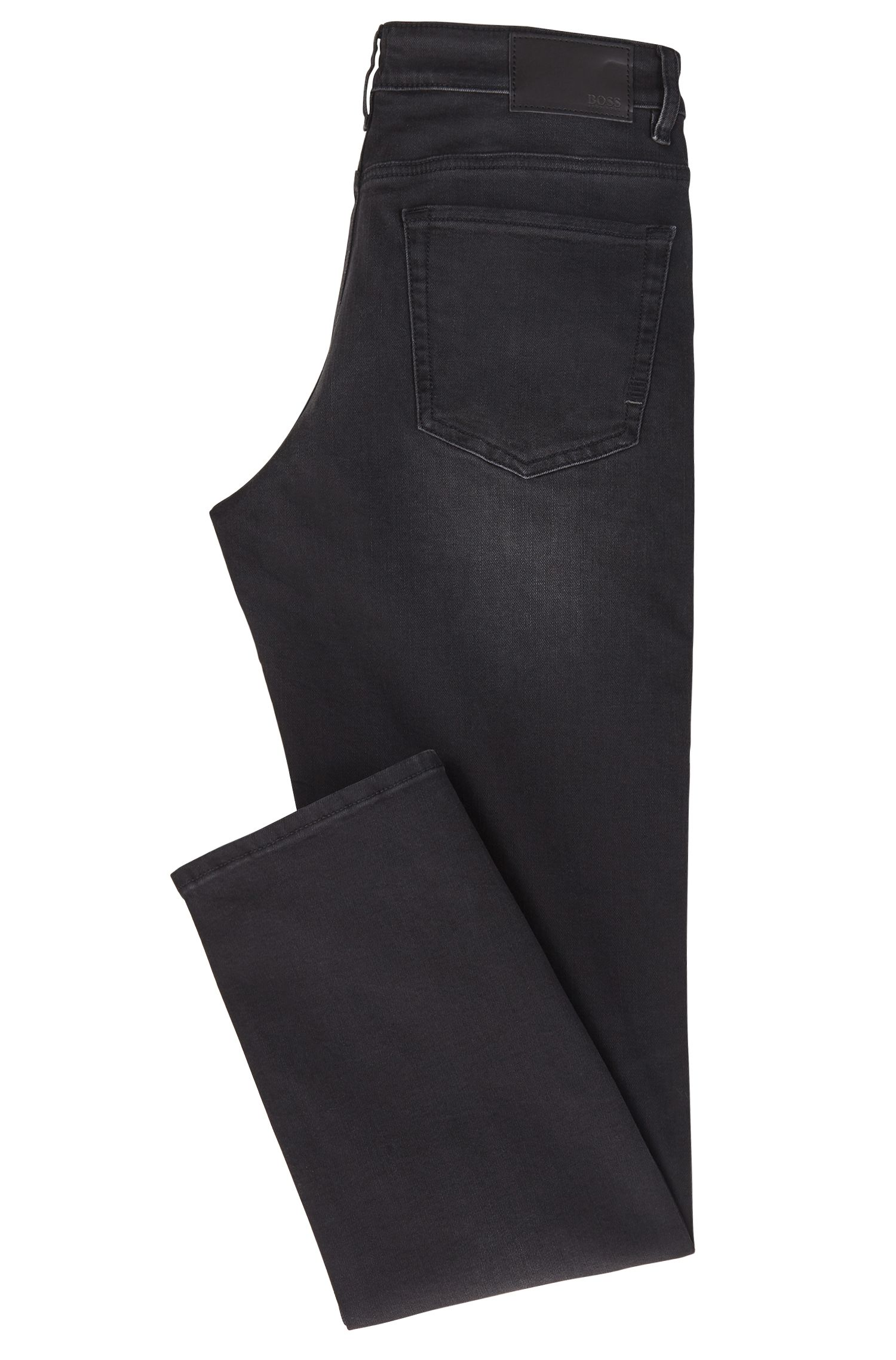 Jeans relaxed fit in denim bi-elasticizzato nero intenso, Nero