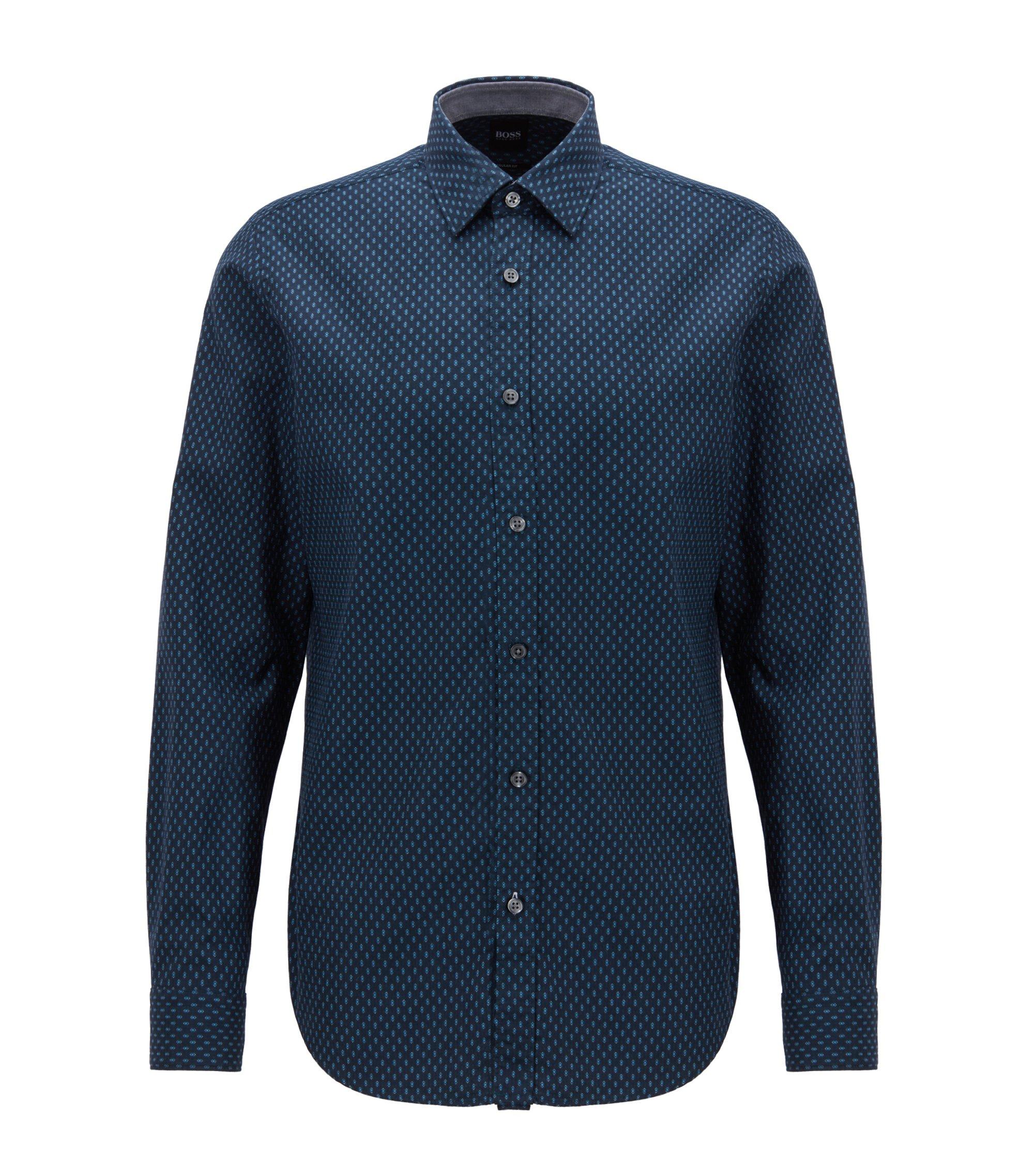 Regular-Fit Hemd aus strukturierter Baumwolle mit geometrischem Print, Dunkelblau
