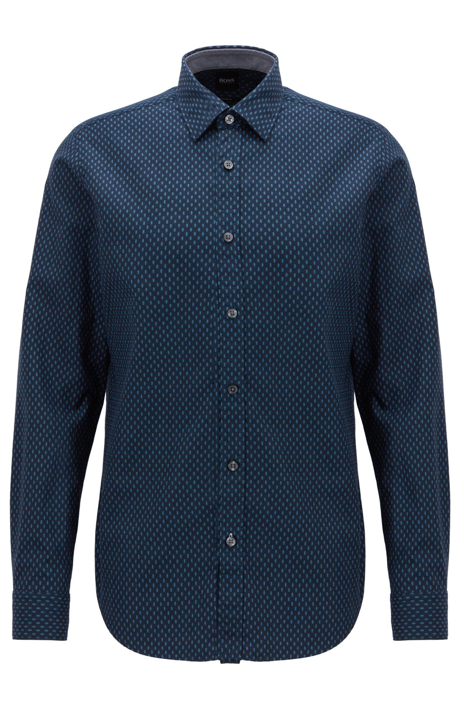 Chemise Regular Fit en coton façonné à imprimé géométrique, Bleu foncé