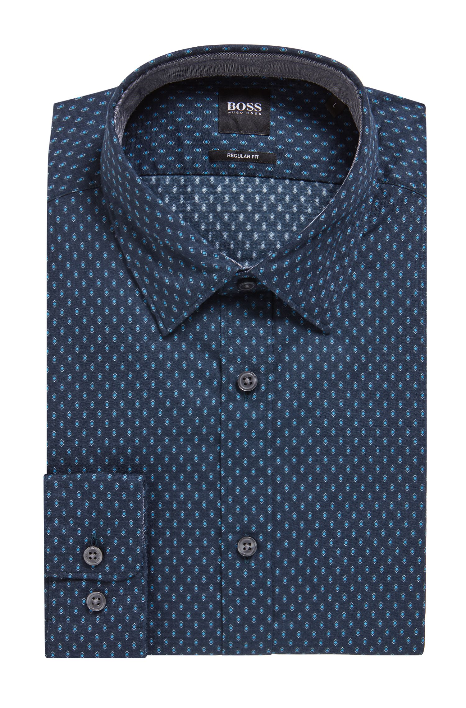 Camicia regular fit in cotone dobby con stampa geometrica, Blue Scuro