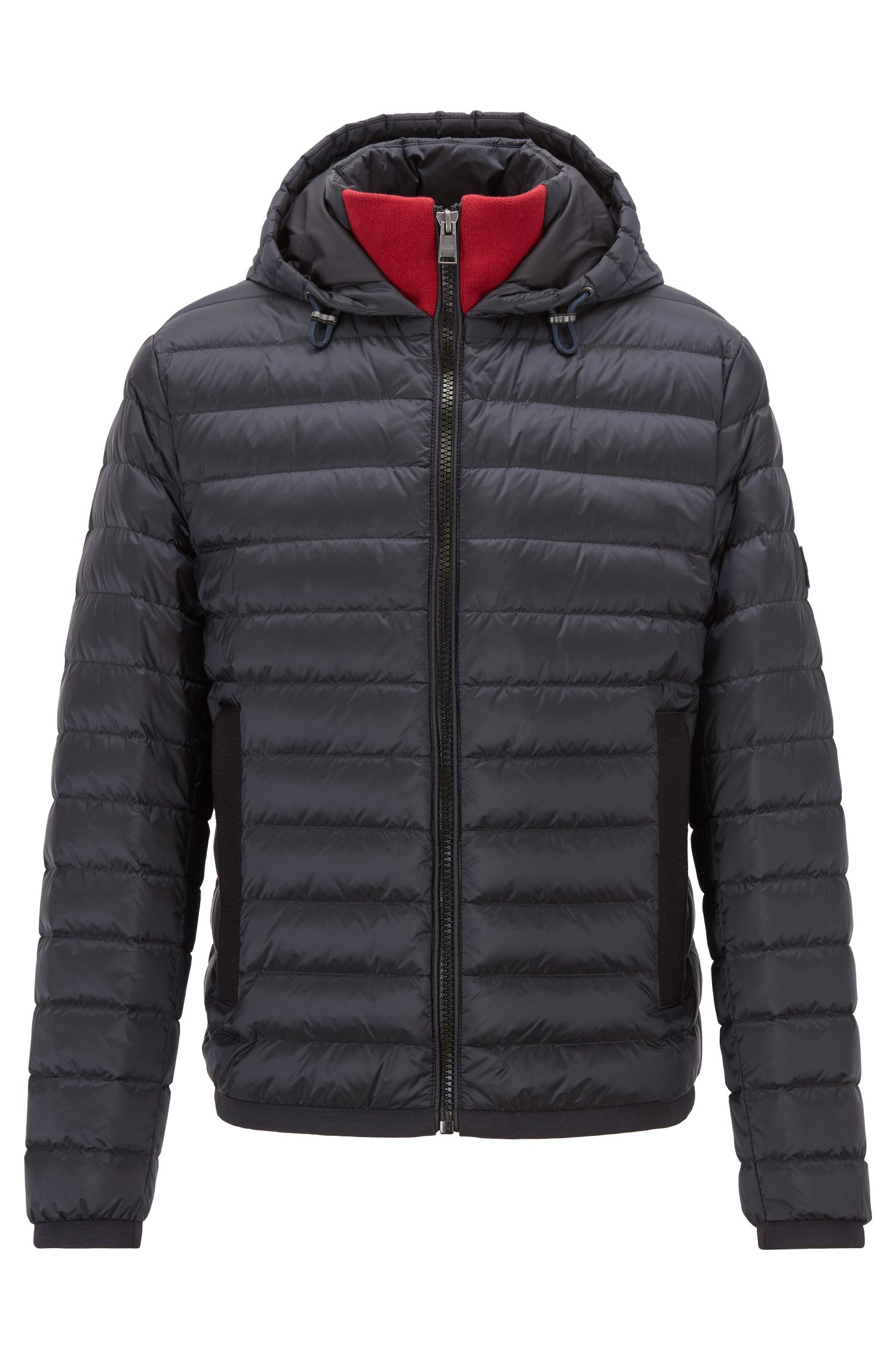 Down-filled blouson jacket with water-repellent outer, Dark Blue