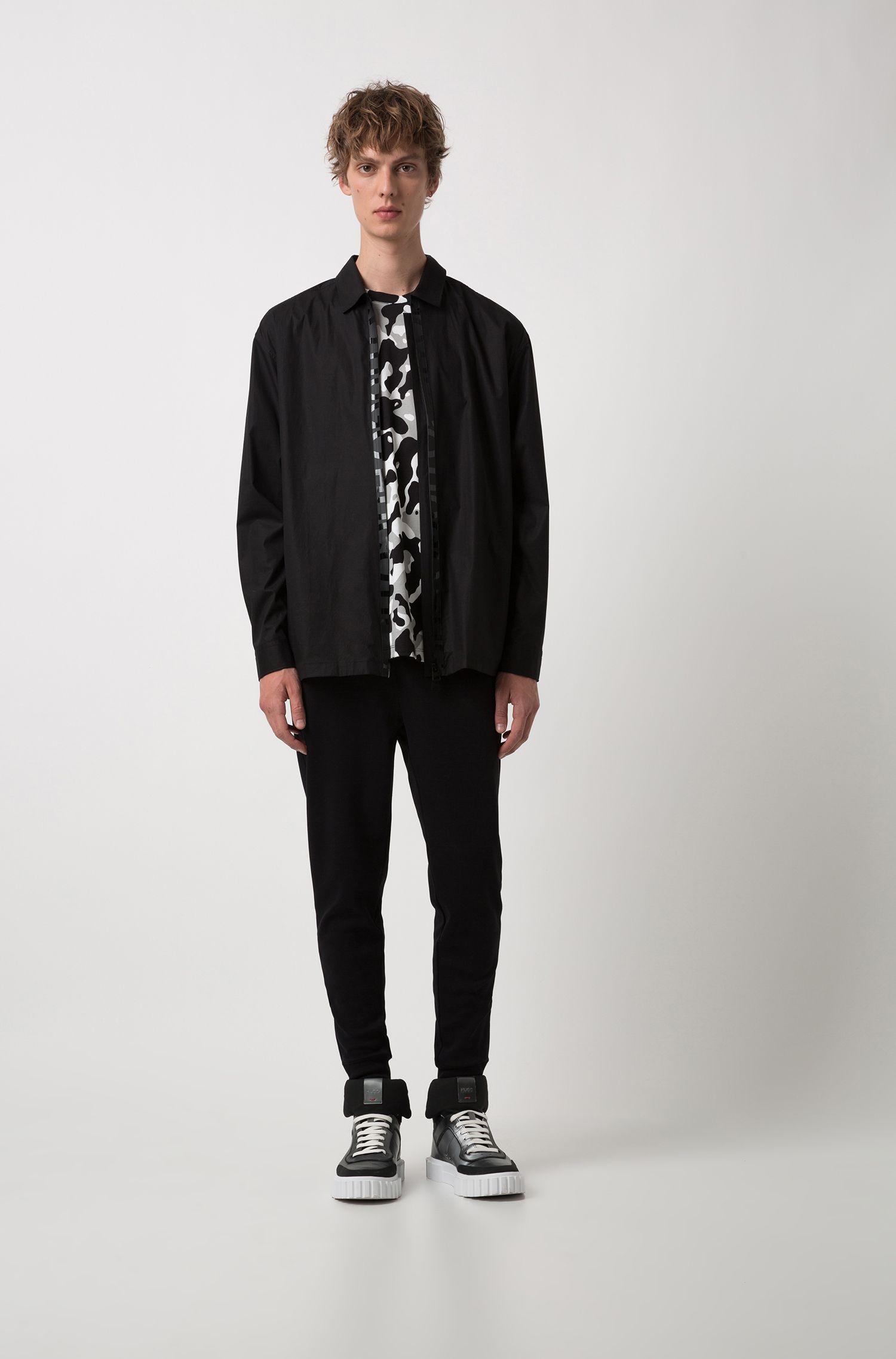 Oversized-fit overhemd met logobies aan de ritssluiting, Zwart