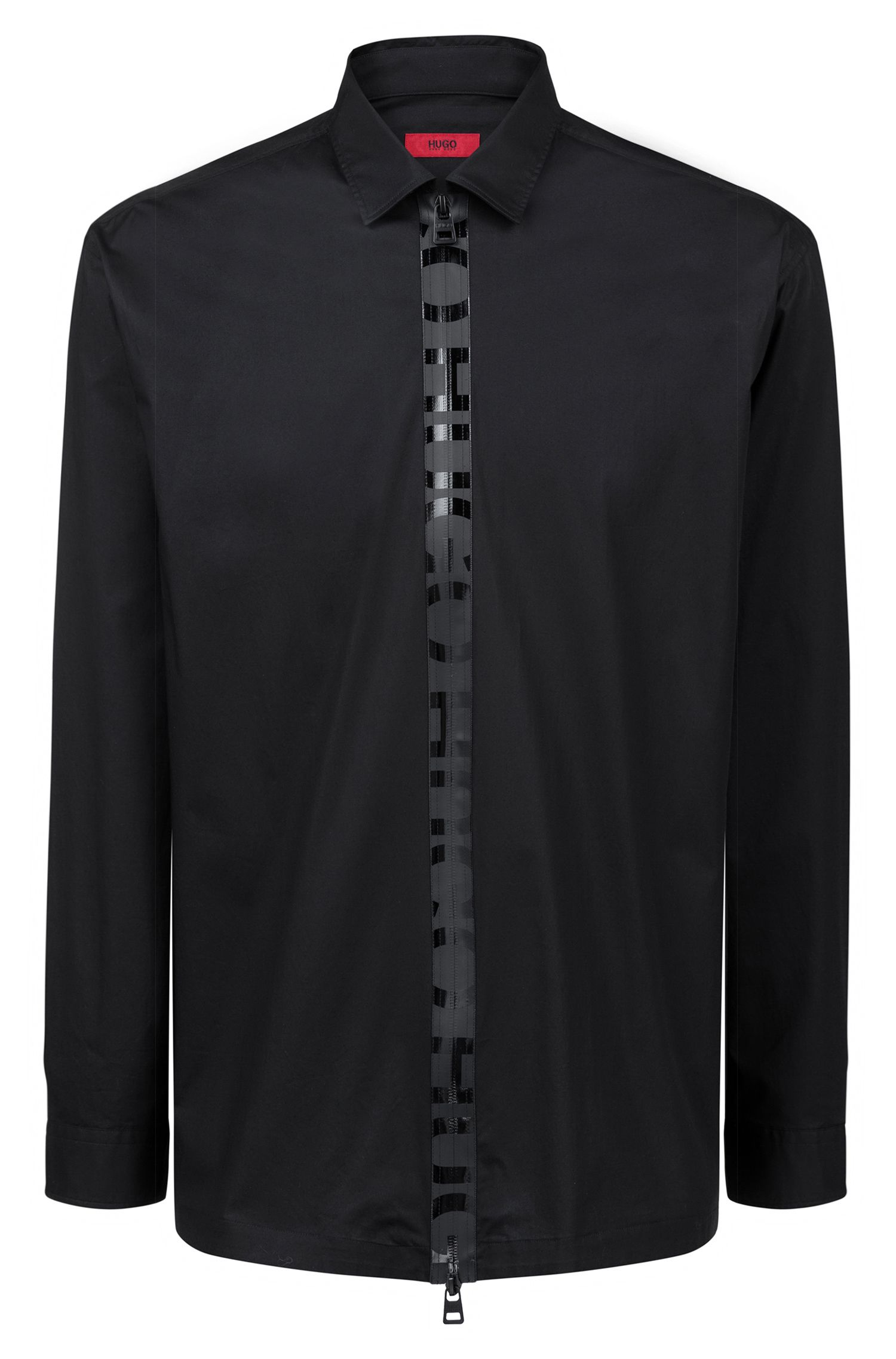 Oversized-fit shirt with logo-tape zip front, Black