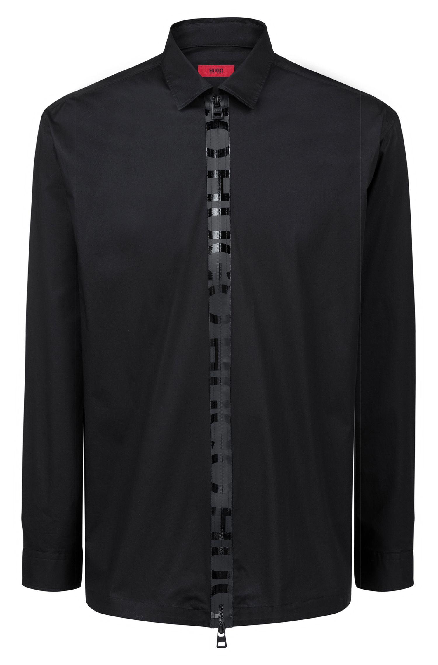 Oversized Hemd mit Logo-Streifen am Reißverschluss, Schwarz