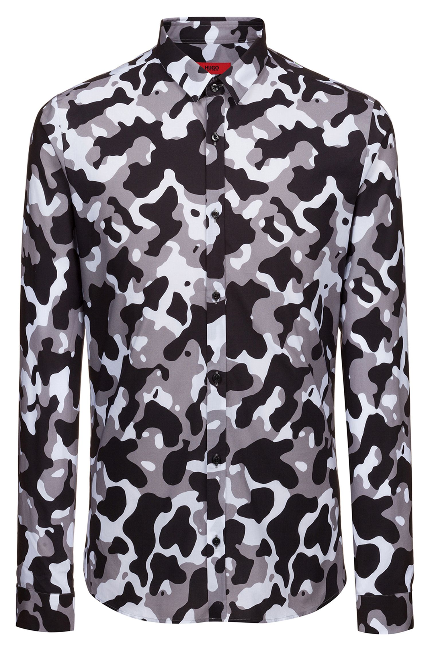 Extra-slim-fit camouflage-print shirt in cotton, Black