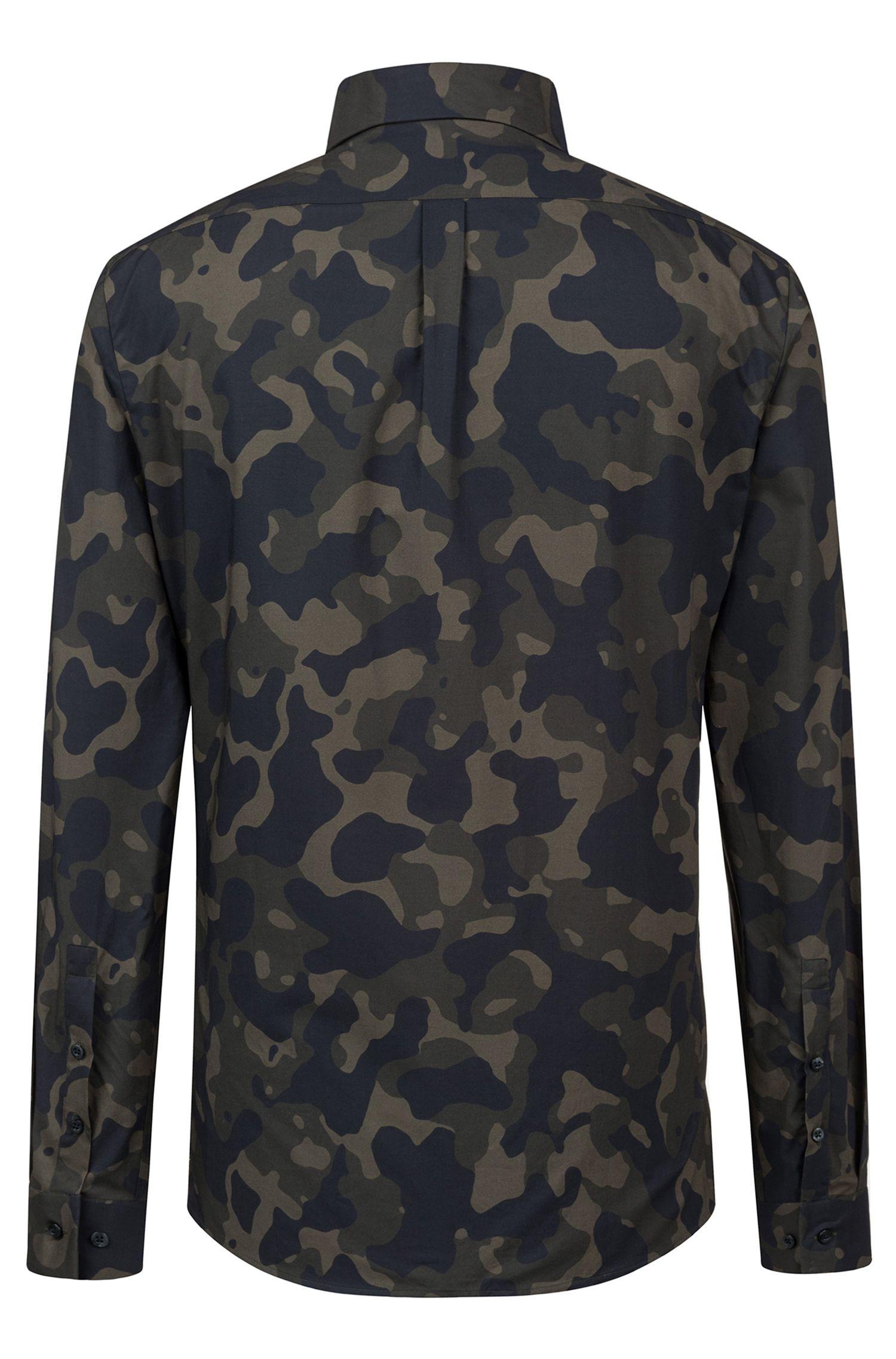 Chemise Extra Slim Fit en coton à imprimé camouflage, Vert sombre