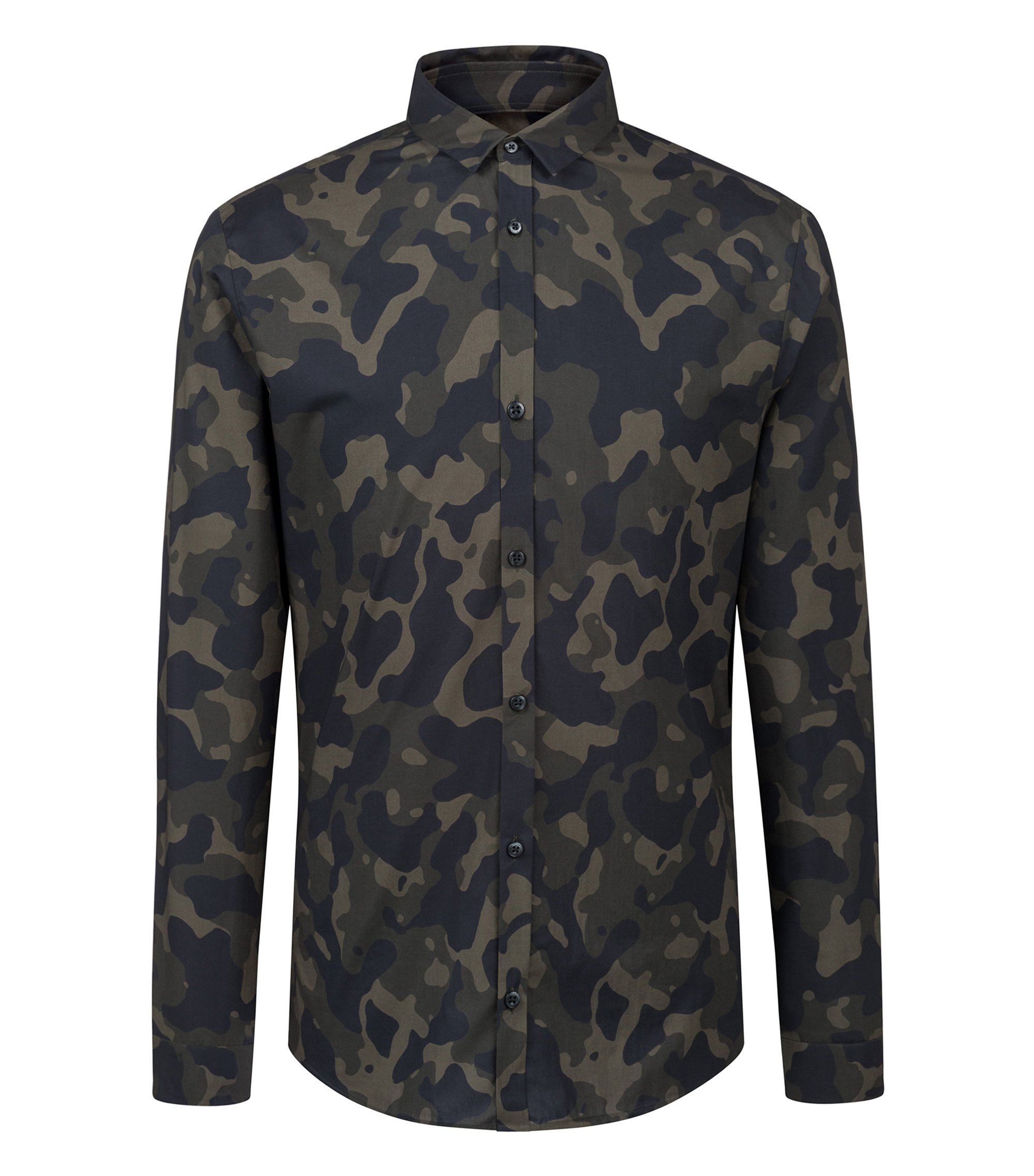 Extra-slim-fit camouflage-print shirt in cotton, Dark Green