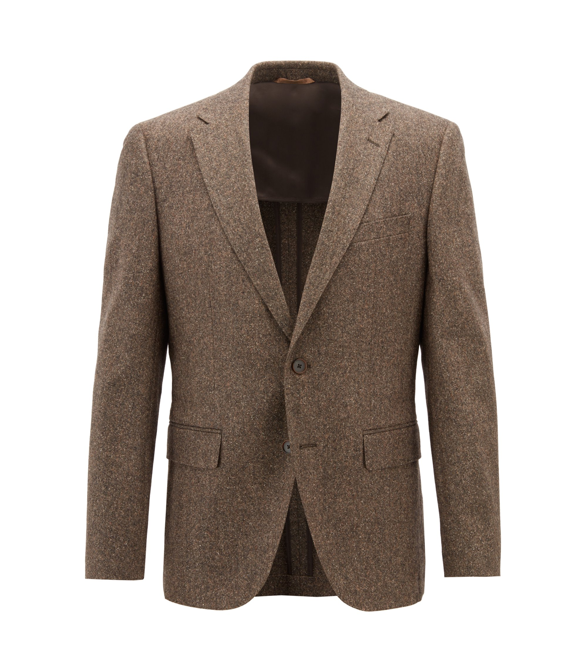 Blazer regular fit in tweed di misto lana vergine, Marrone chiaro