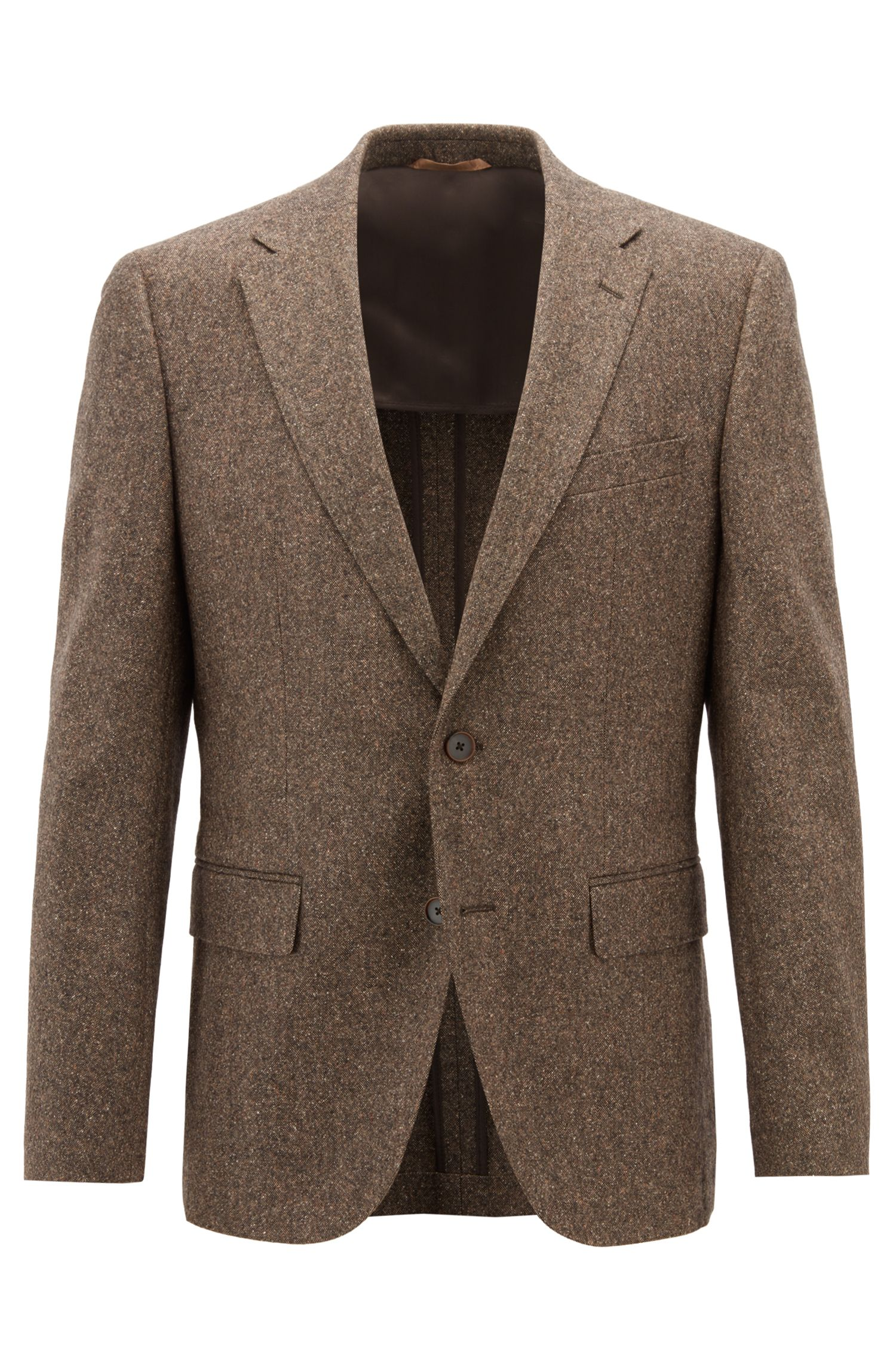 Blazer Regular Fit en tweed de laine vierge mélangée