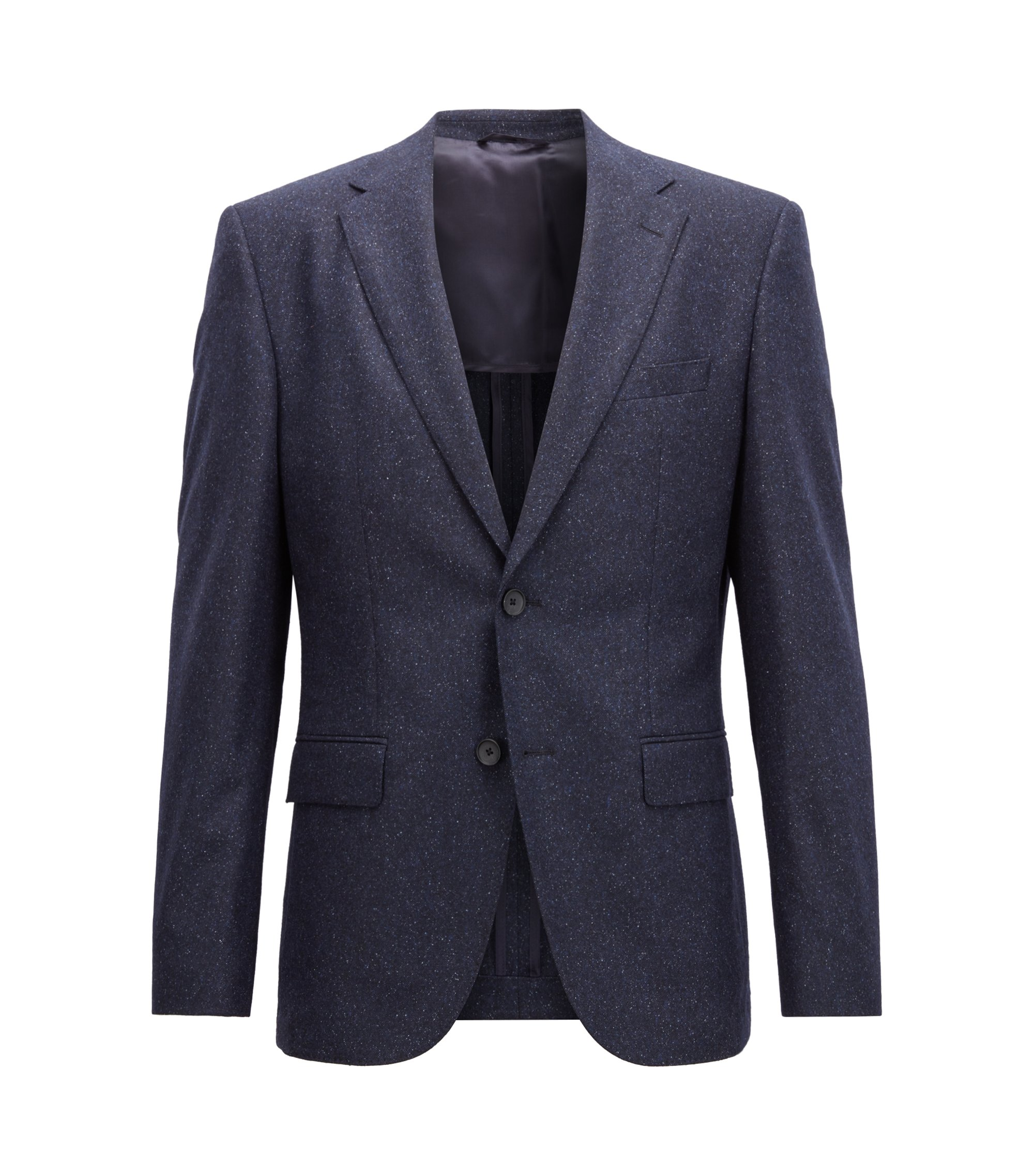 Blazer regular fit in tweed di misto lana vergine, Blu scuro