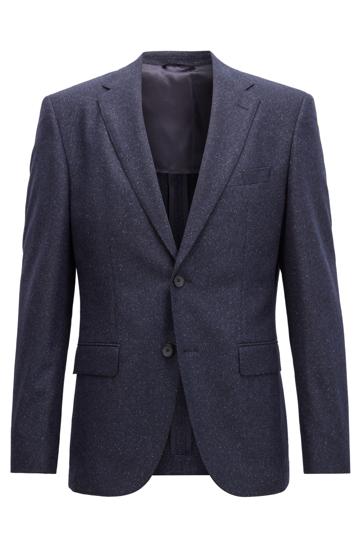 Blazer regular fit en tweed de mezcla de lana virgen, Azul oscuro