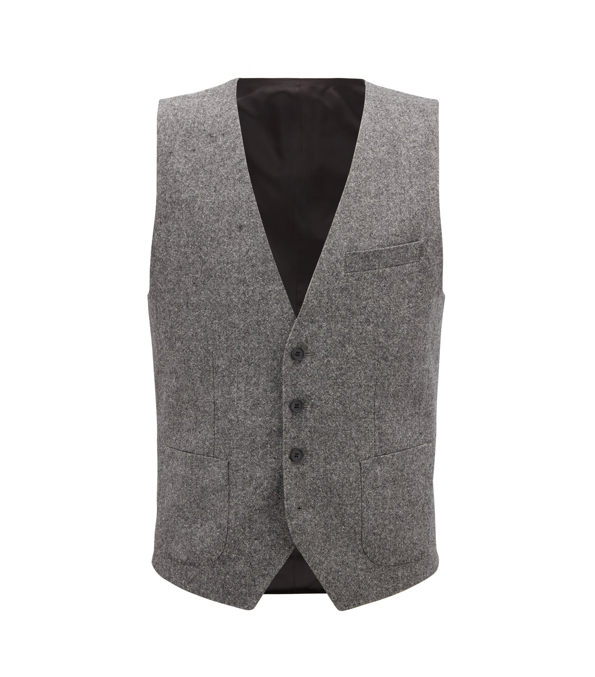 Chaleco slim fit de tweed en mezcla de lana virgen, Gris