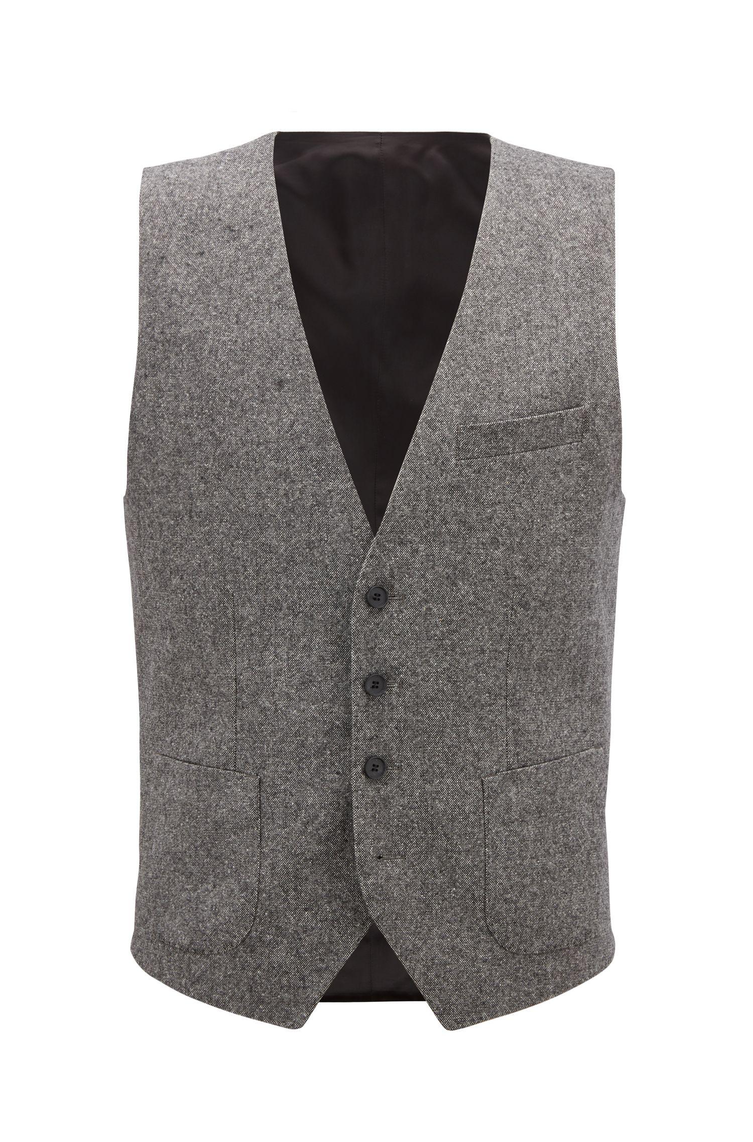 Chaleco slim fit de tweed en mezcla de lana virgen, Gris