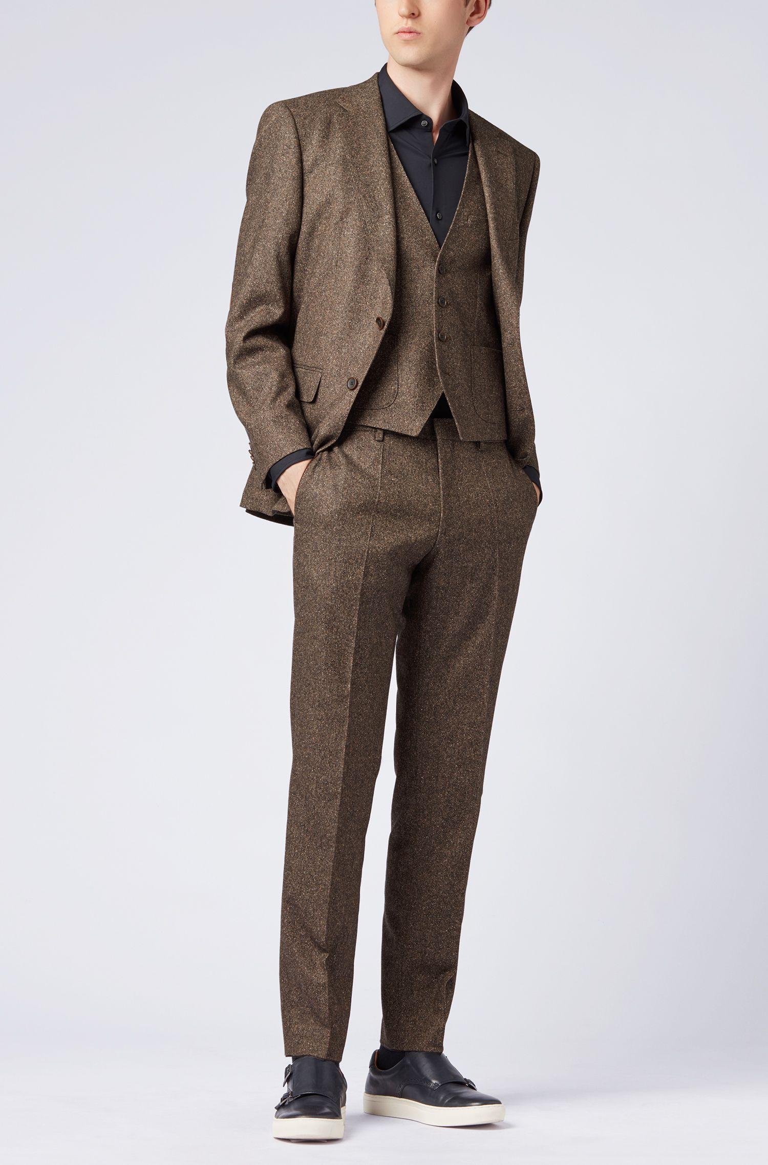 Slim-fit waistcoat in a virgin-wool-blend tweed, Light Brown