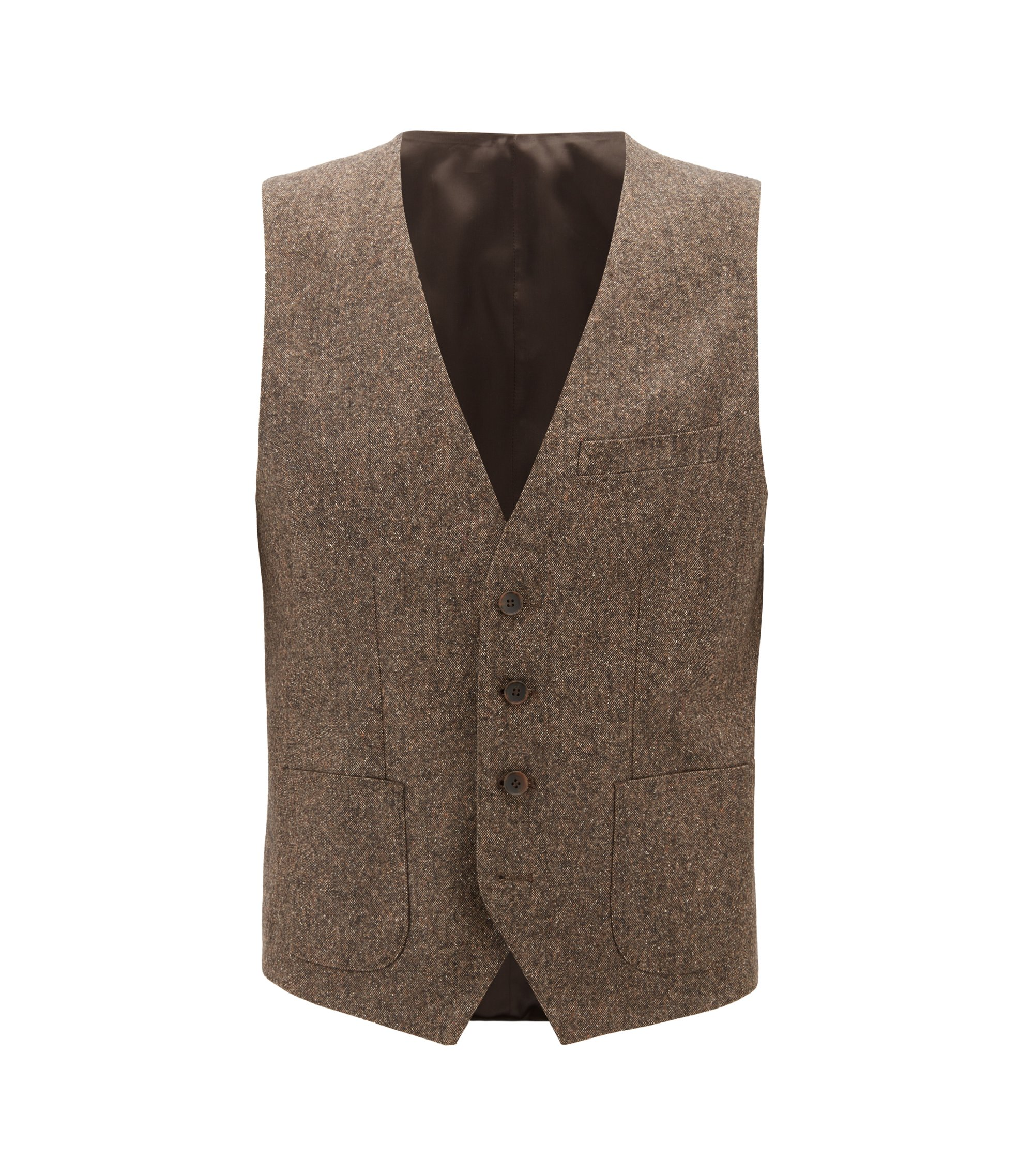Gilet slim fit in tweed di misto lana vergine, Marrone chiaro