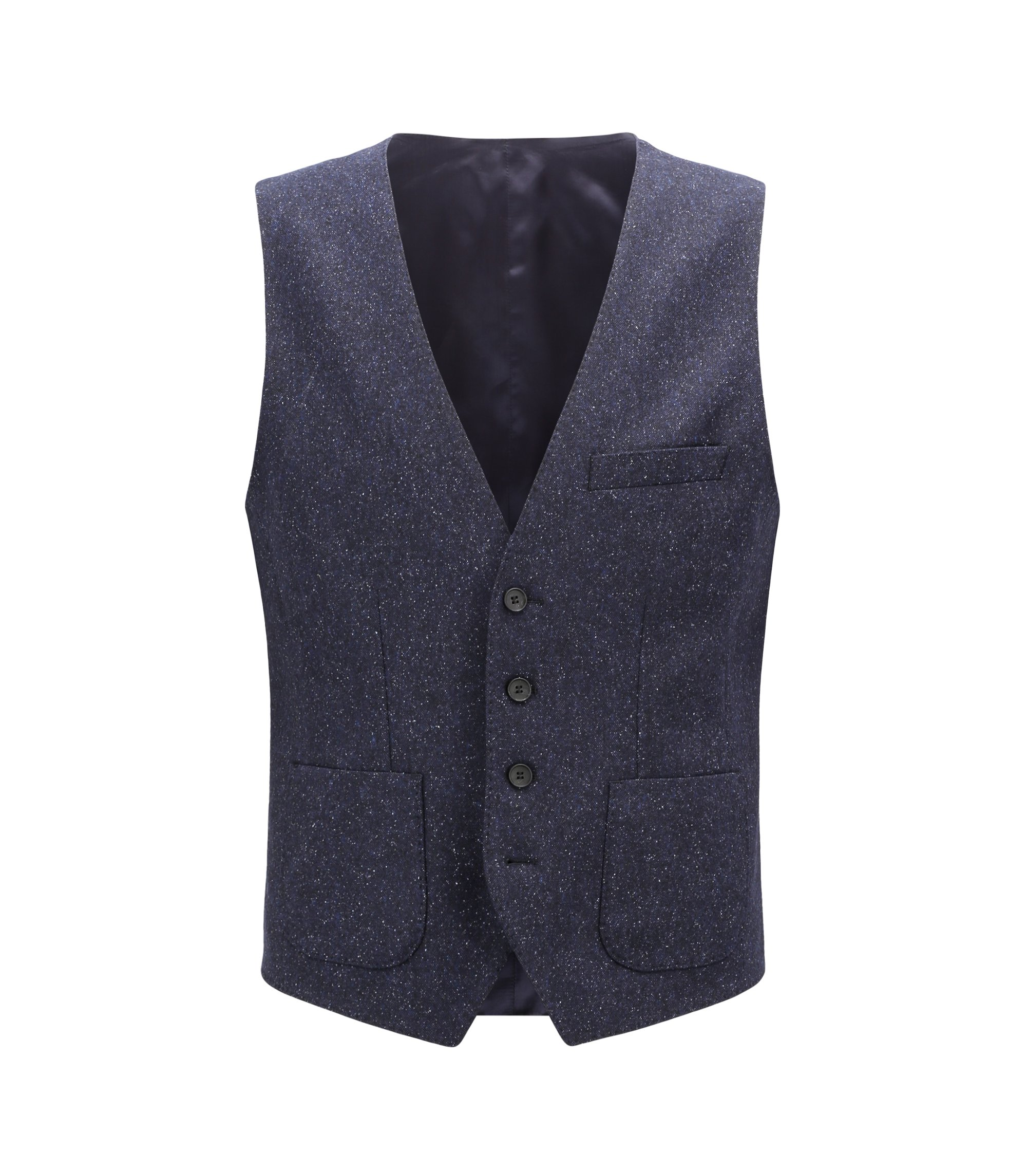 Gilet slim fit in tweed di misto lana vergine, Blu scuro