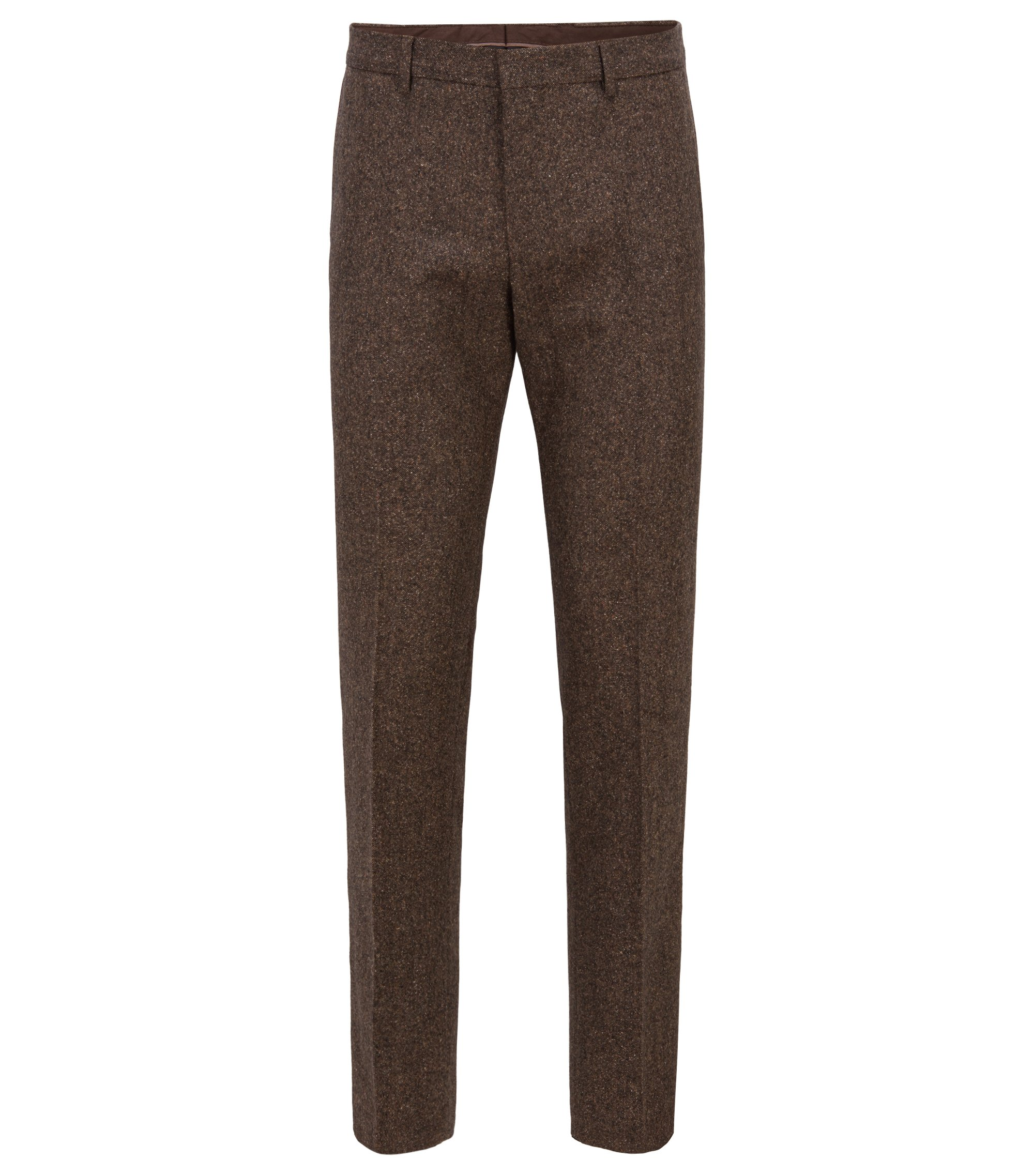 Pantaloni slim fit in tweed di misto lana vergine, Marrone chiaro