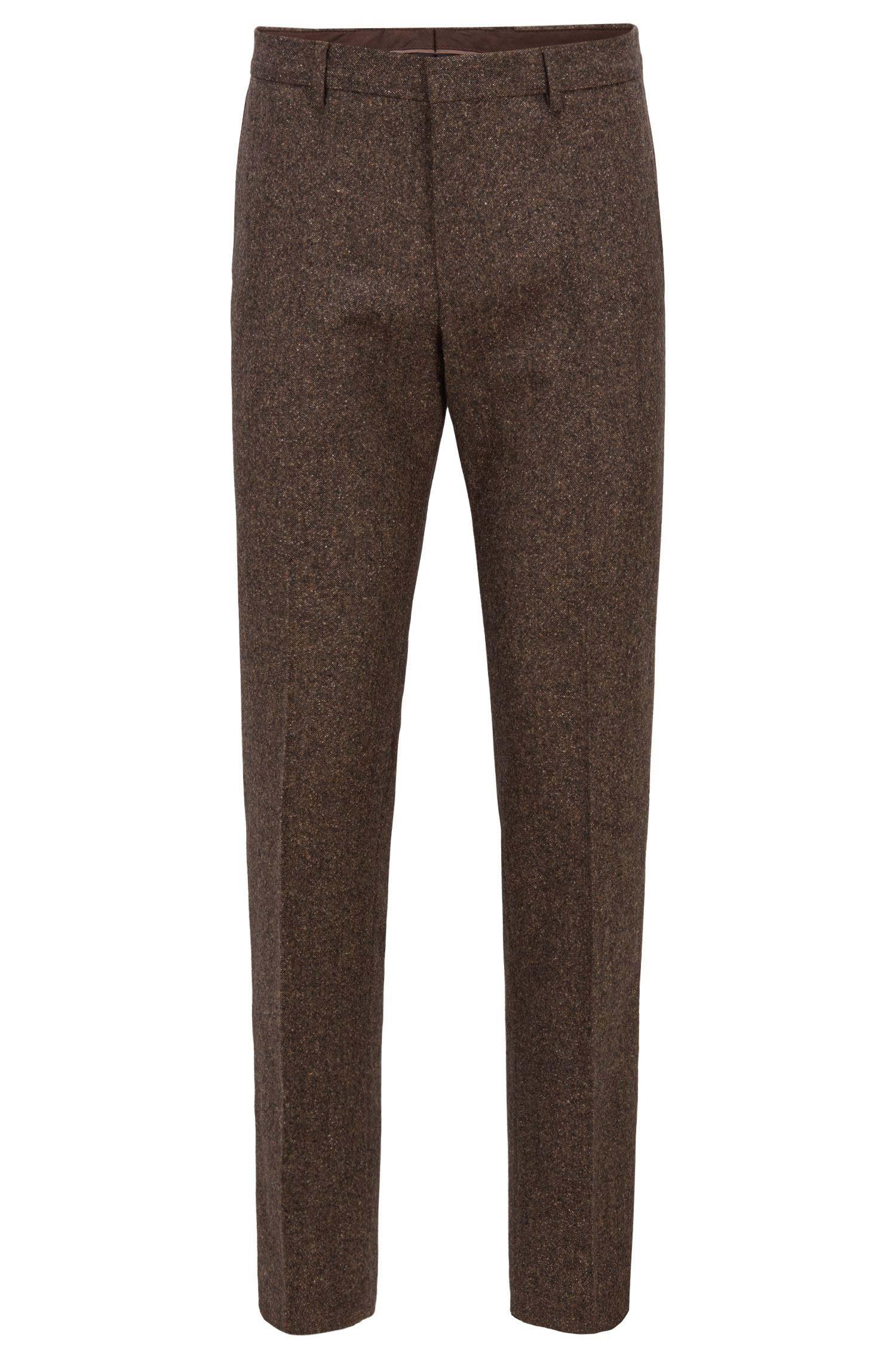 Pantalones slim fit de tweed en mezcla de lana virgen, Marrón claro