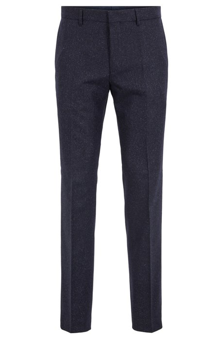 Slim-Fit Hose aus Tweed, Dunkelblau