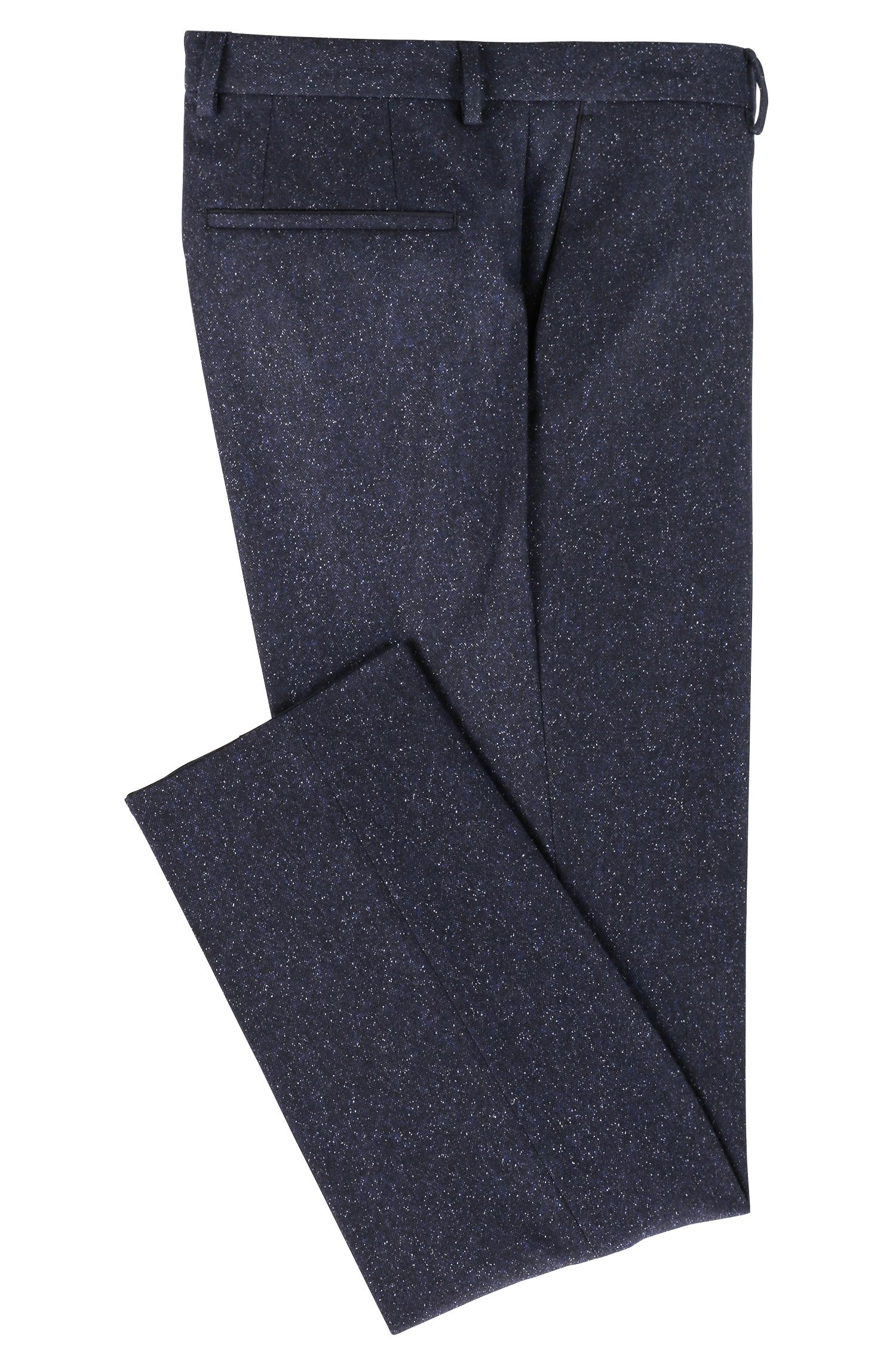 Pantaloni slim fit in tweed di misto lana vergine, Blu scuro