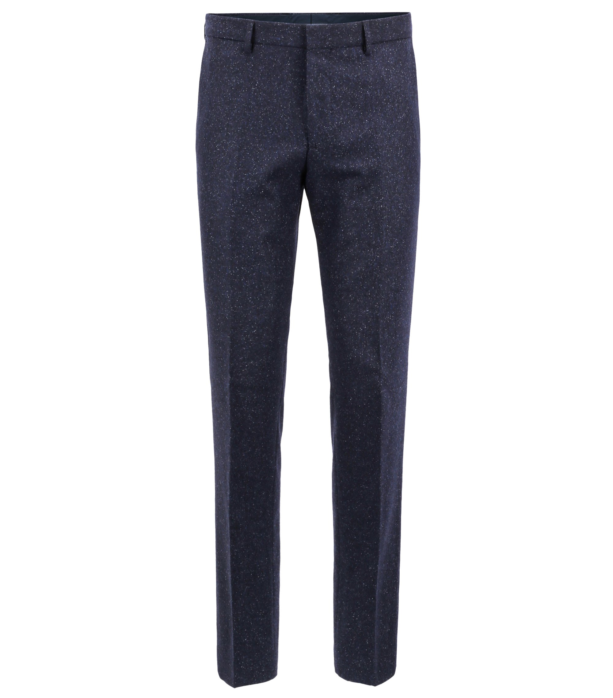 Slim-fit trousers in a virgin-wool-blend tweed, Dark Blue