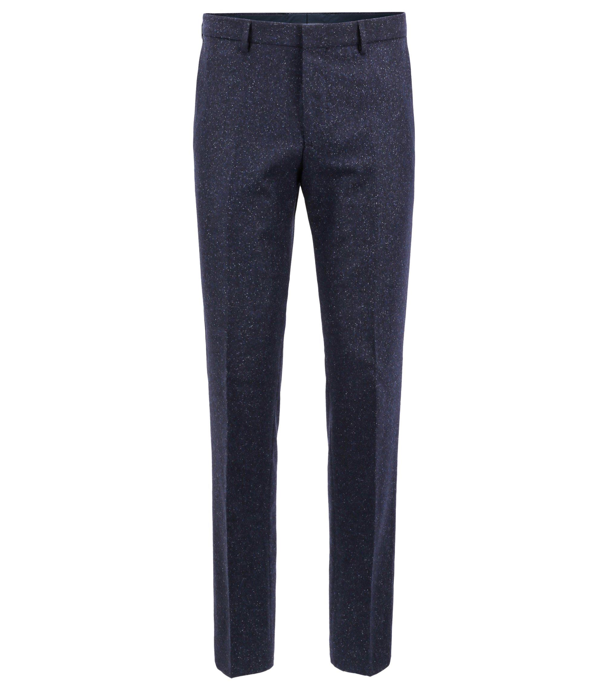 Pantalon Slim Fit en tweed de laine vierge mélangée, Bleu foncé