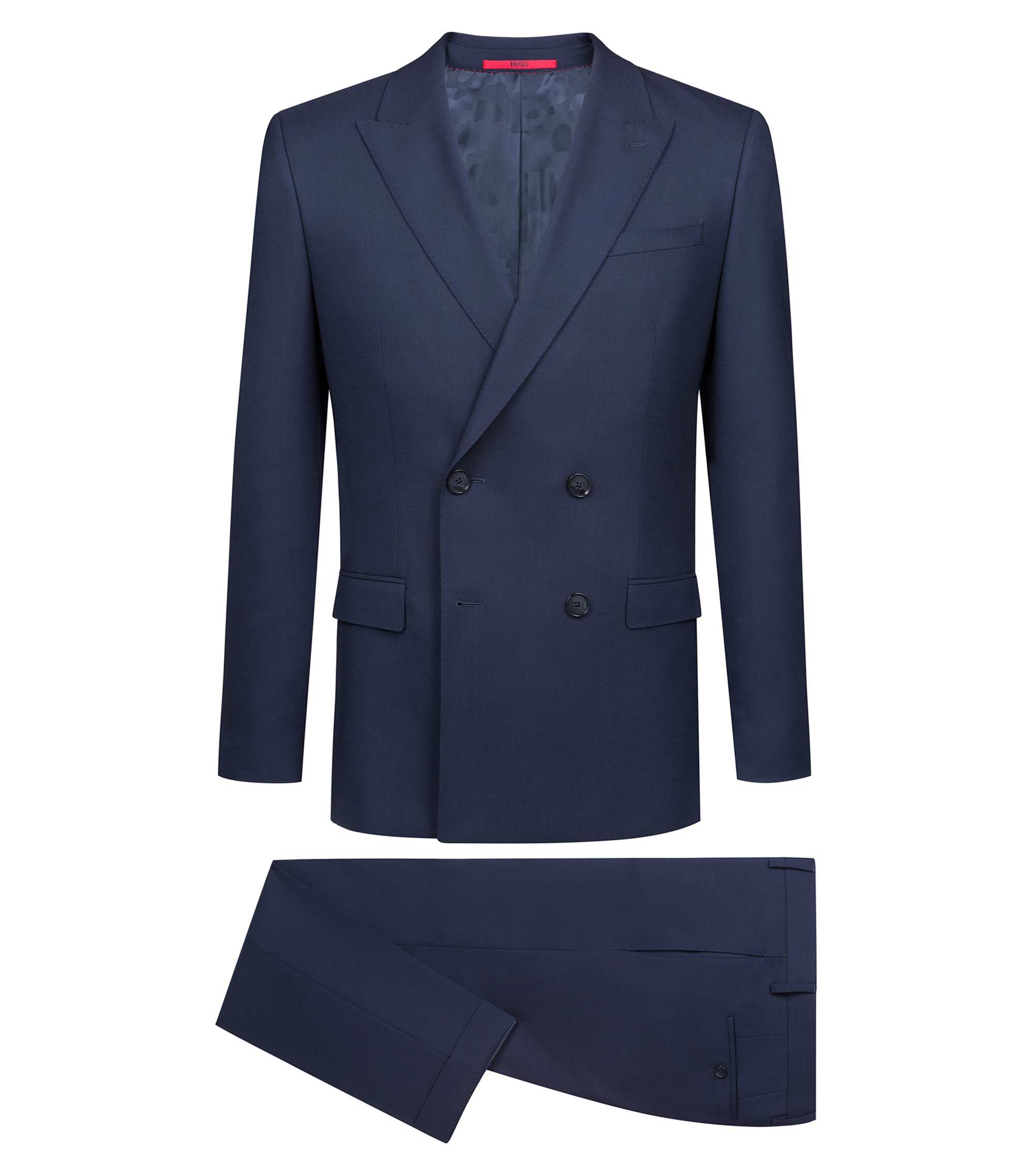 Slim-fit double-breasted suit in Italian virgin wool, Dark Blue