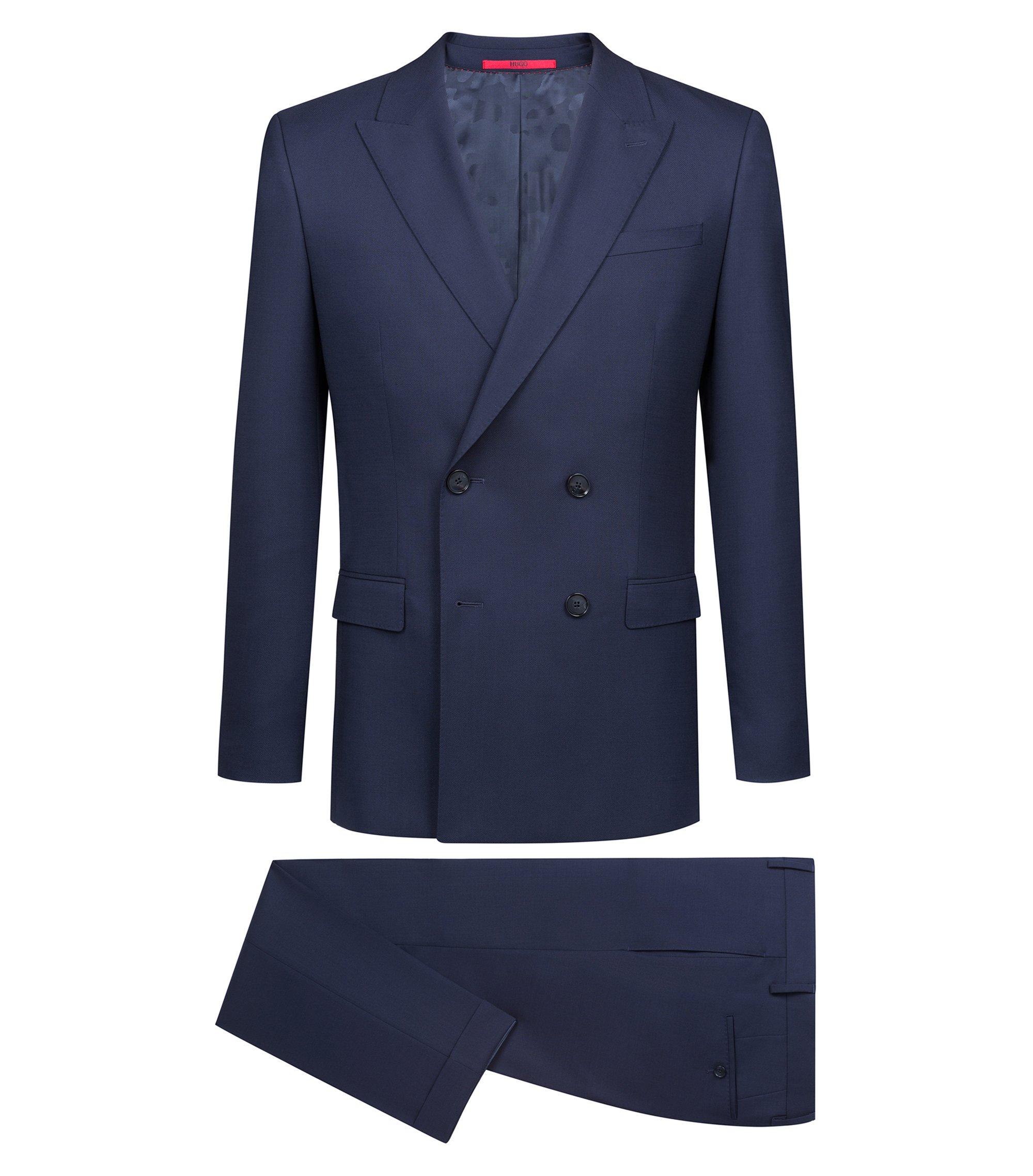 Abito doppiopetto slim fit in lana vergine realizzata in Italia, Blu scuro