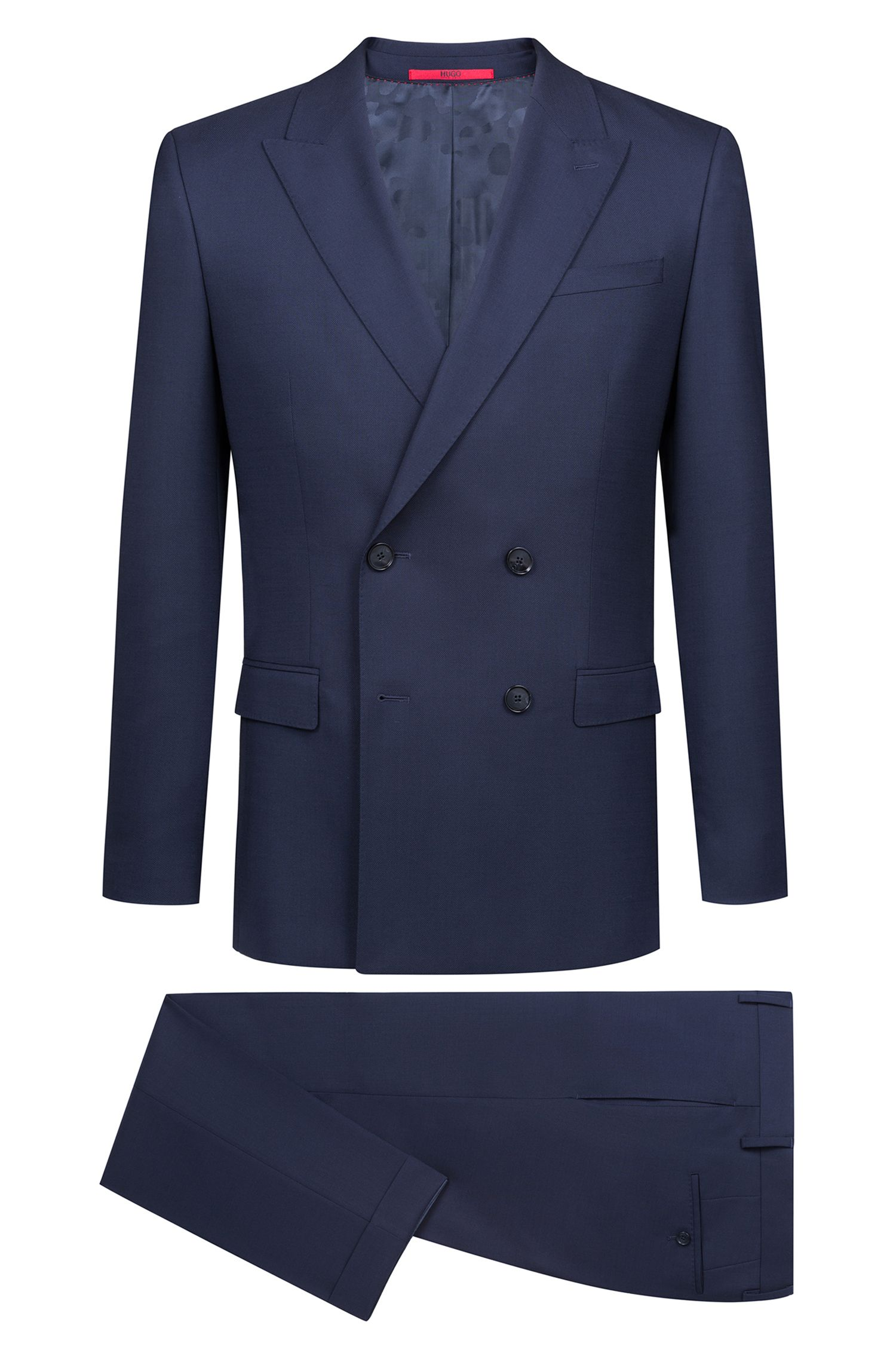 Slim-fit double-breasted suit in Italian virgin wool