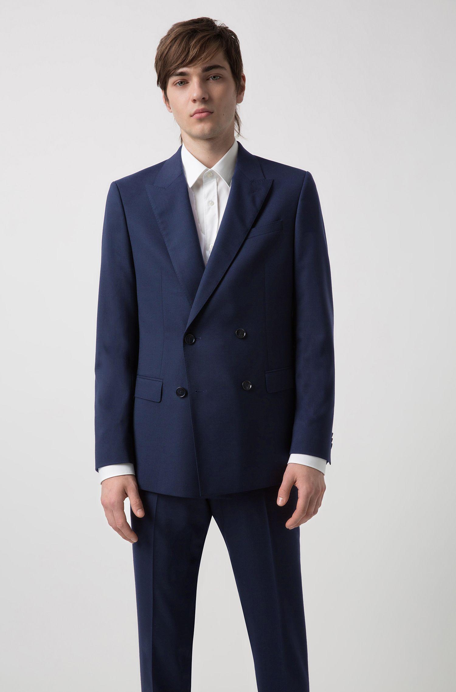 Costume croisé Slim Fit en laine vierge italienne, Bleu foncé