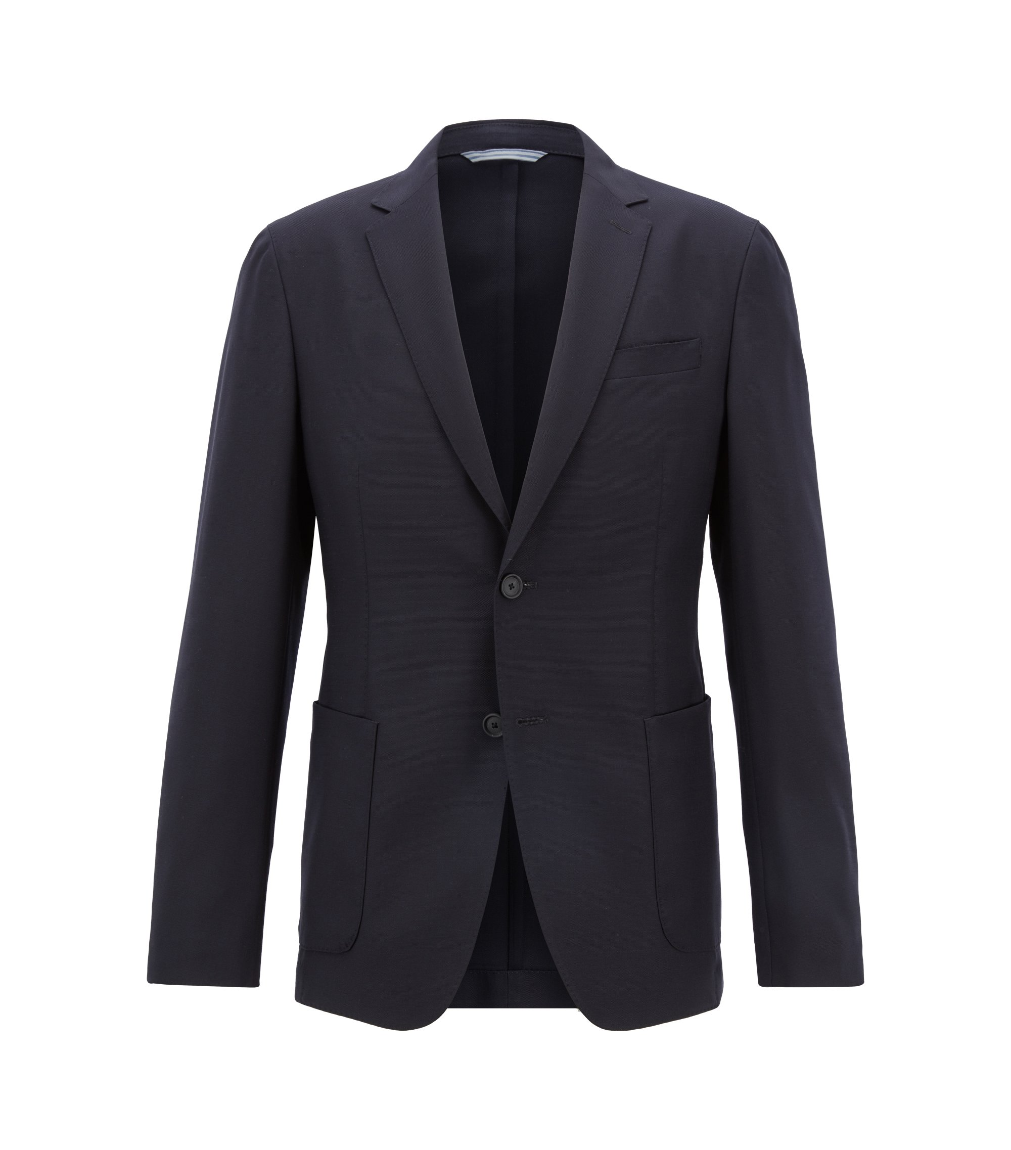 Blazer slim fit en lana virgen lavable, Azul