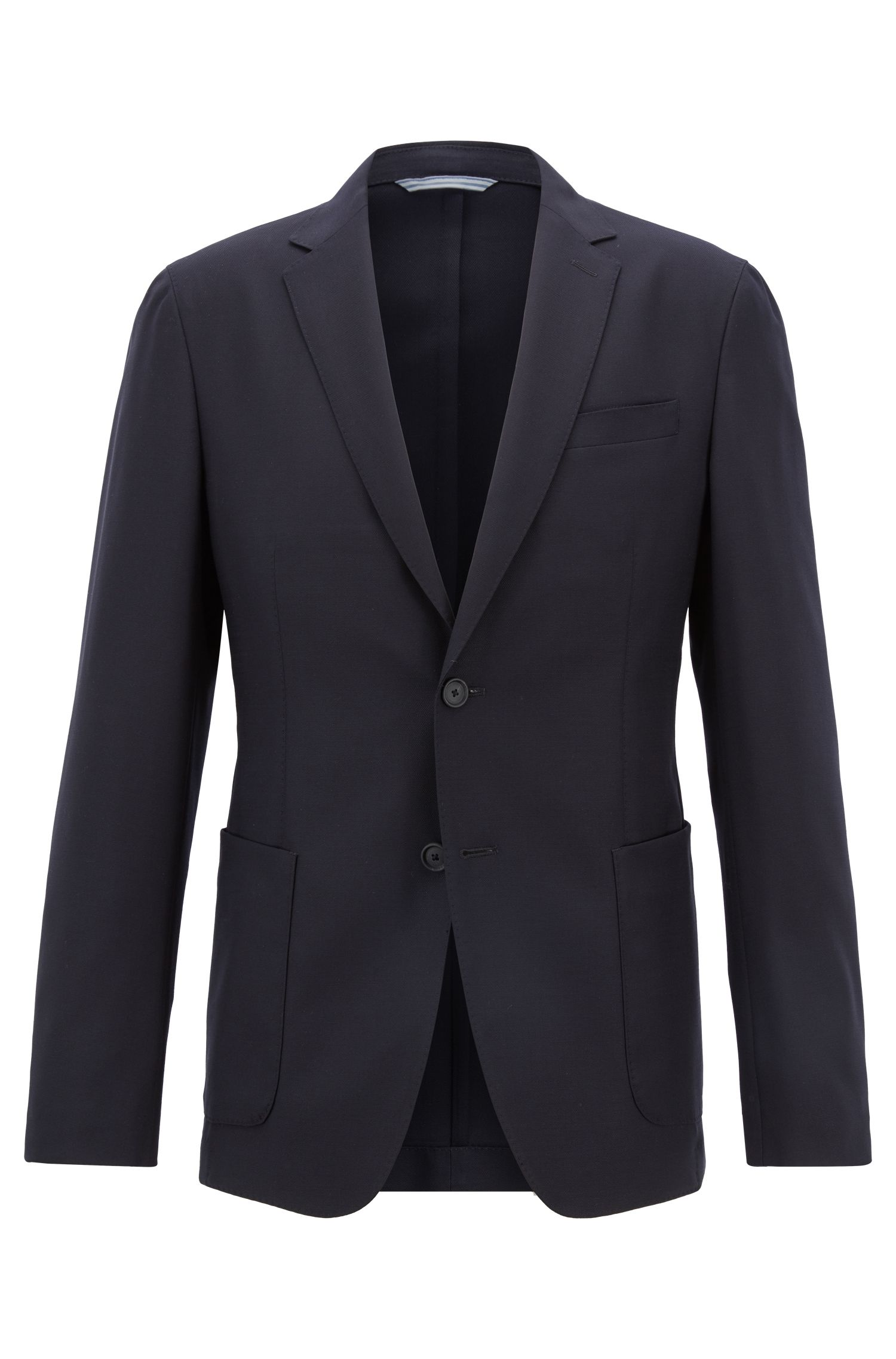 Slim-fit blazer in washable virgin wool, Blue