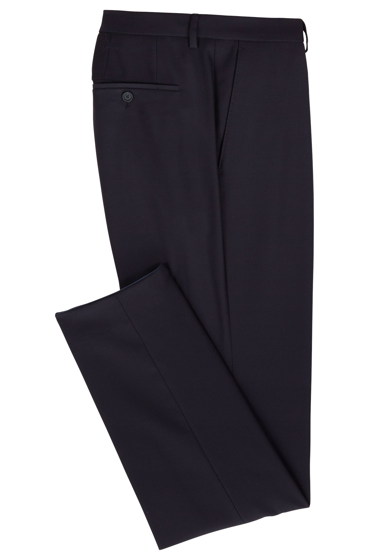 Pantaloni slim fit in lana vergine lavabile, Blu scuro