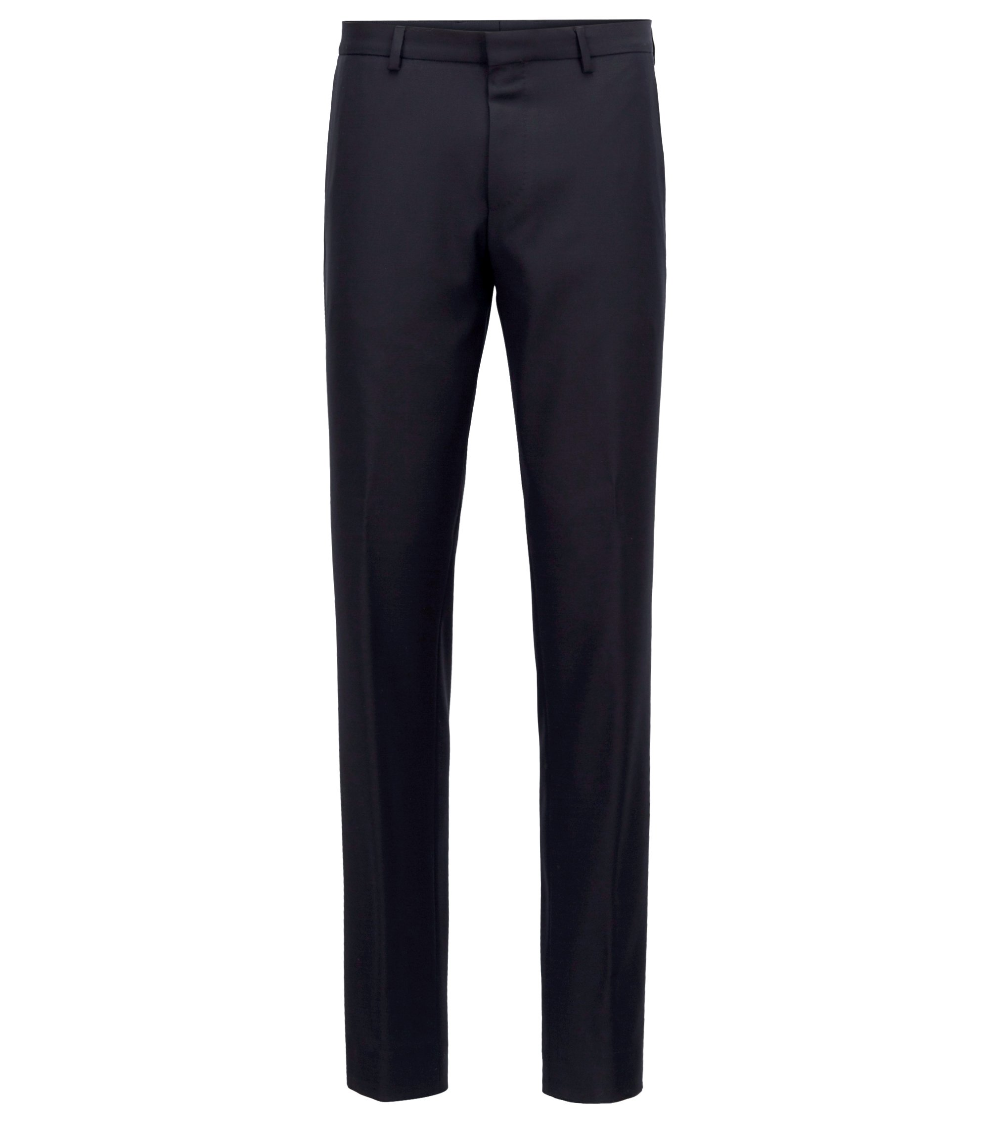 Slim-fit trousers in washable virgin wool, Dark Blue