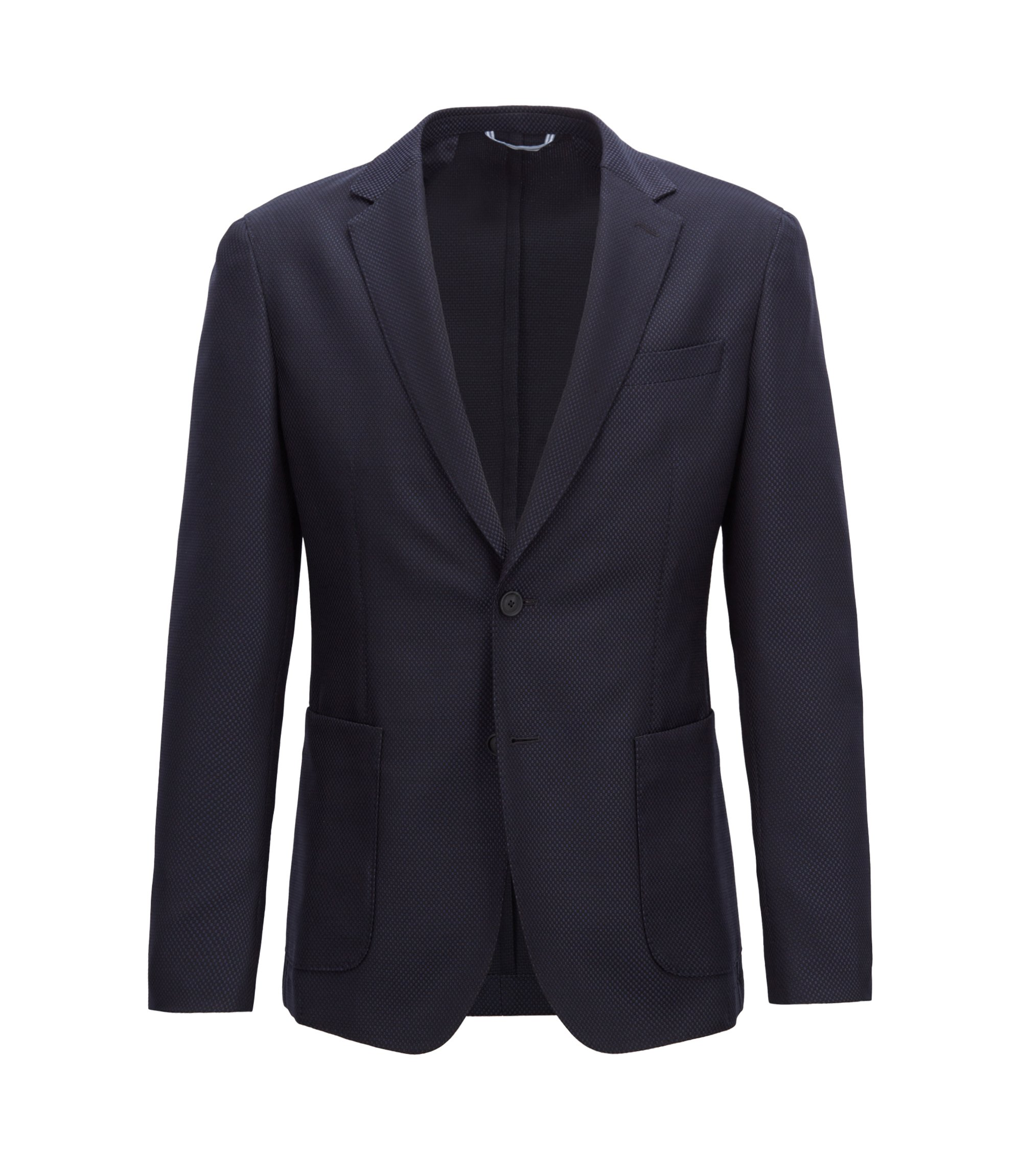 Slim-fit blazer in a washable virgin-wool blend, Dark Blue