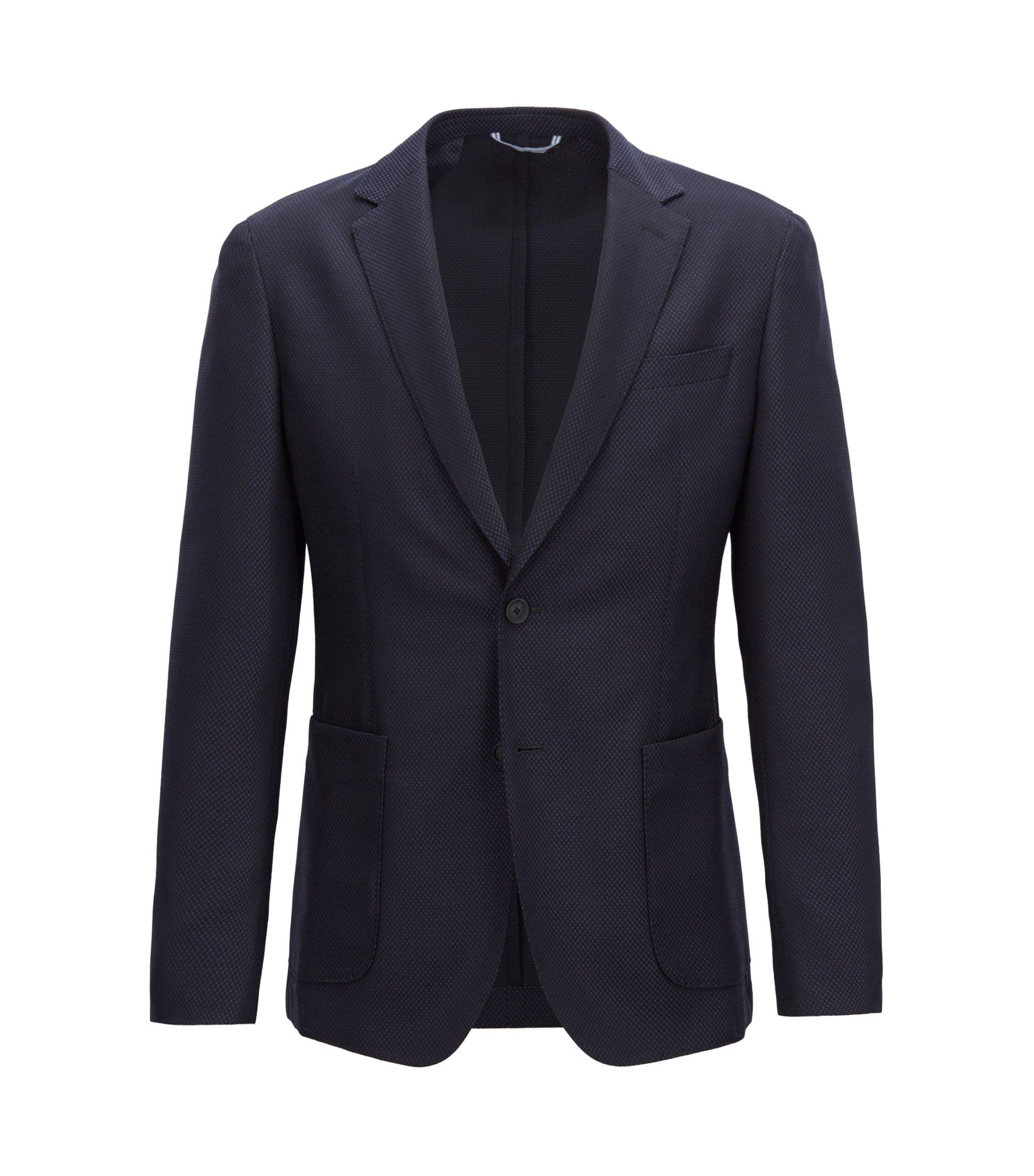 Blazer slim fit in misto lana vergine lavabile, Blu scuro