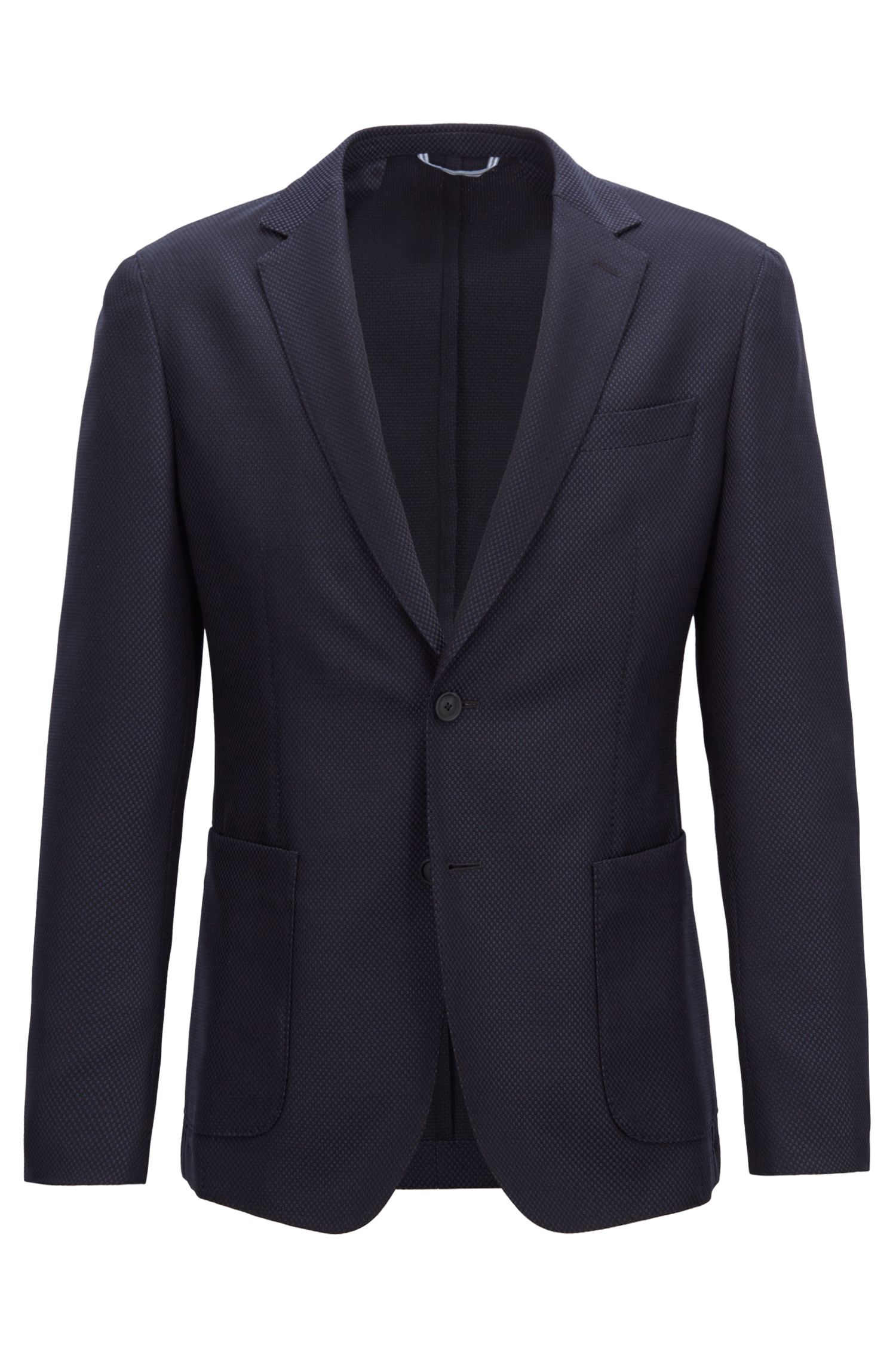 Blazer slim fit en mezcla de lana virgen lavable, Azul oscuro