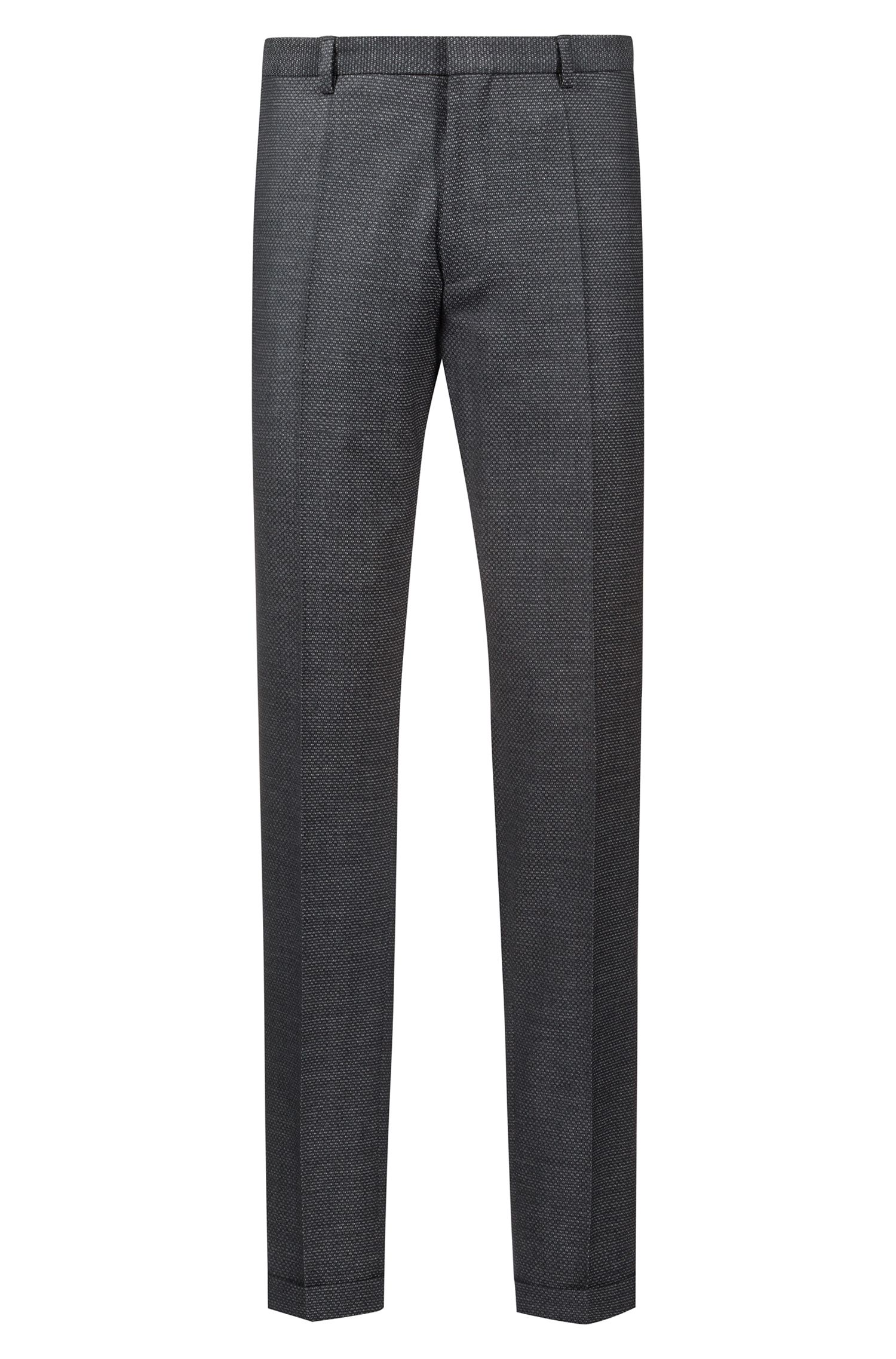 Extra-slim-fit patterned suit in virgin wool, Anthracite